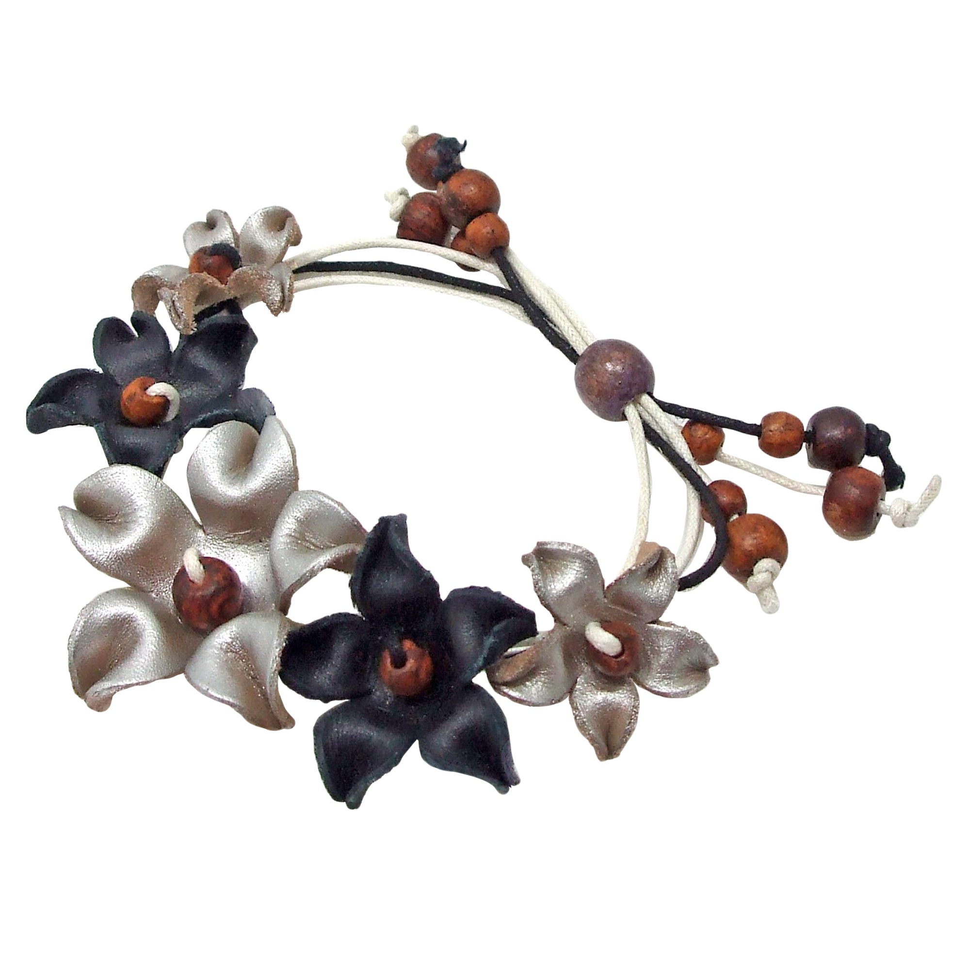Cute Bouquet Of Genuine Black Silver Leather Flowers Pull String