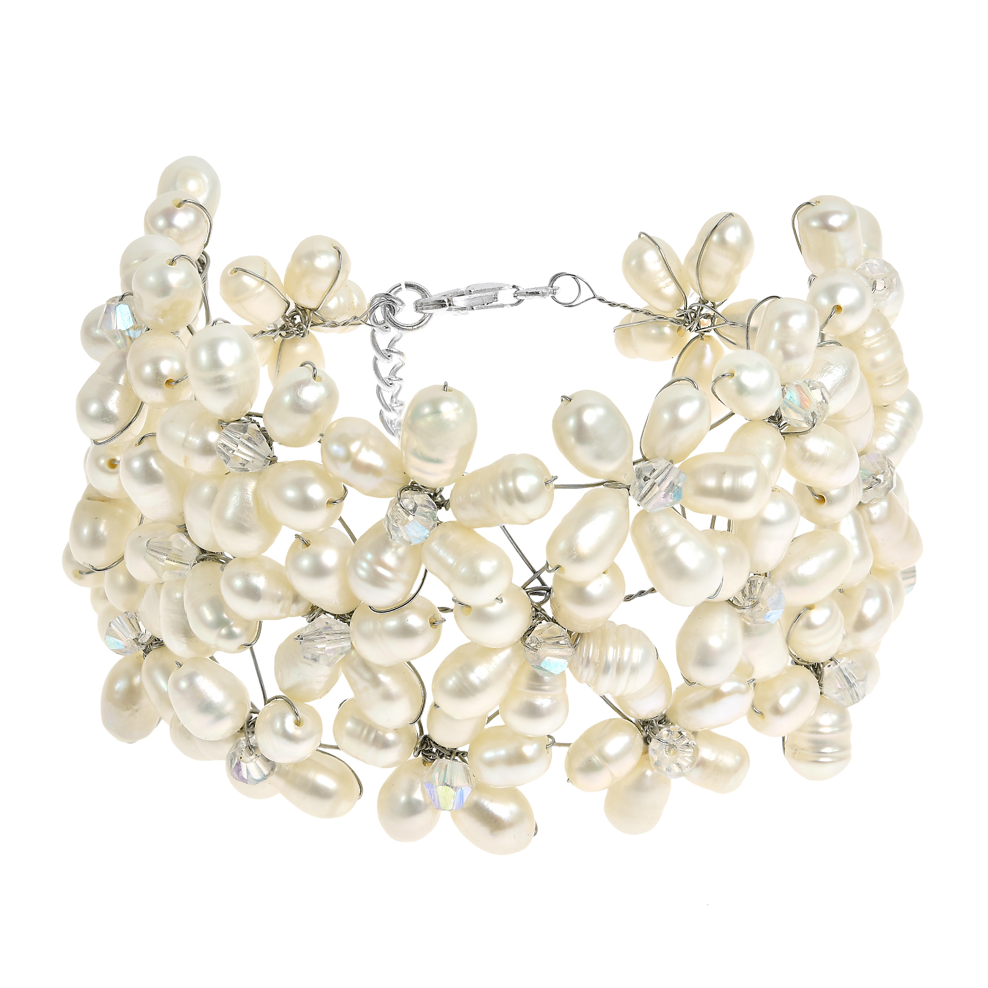 base crystal sophisticated white bracelet metal bracelets in aeravida lai classy products this details made artisan and was flower features of a pearl motif bs thailand proficient handmade wht by stone