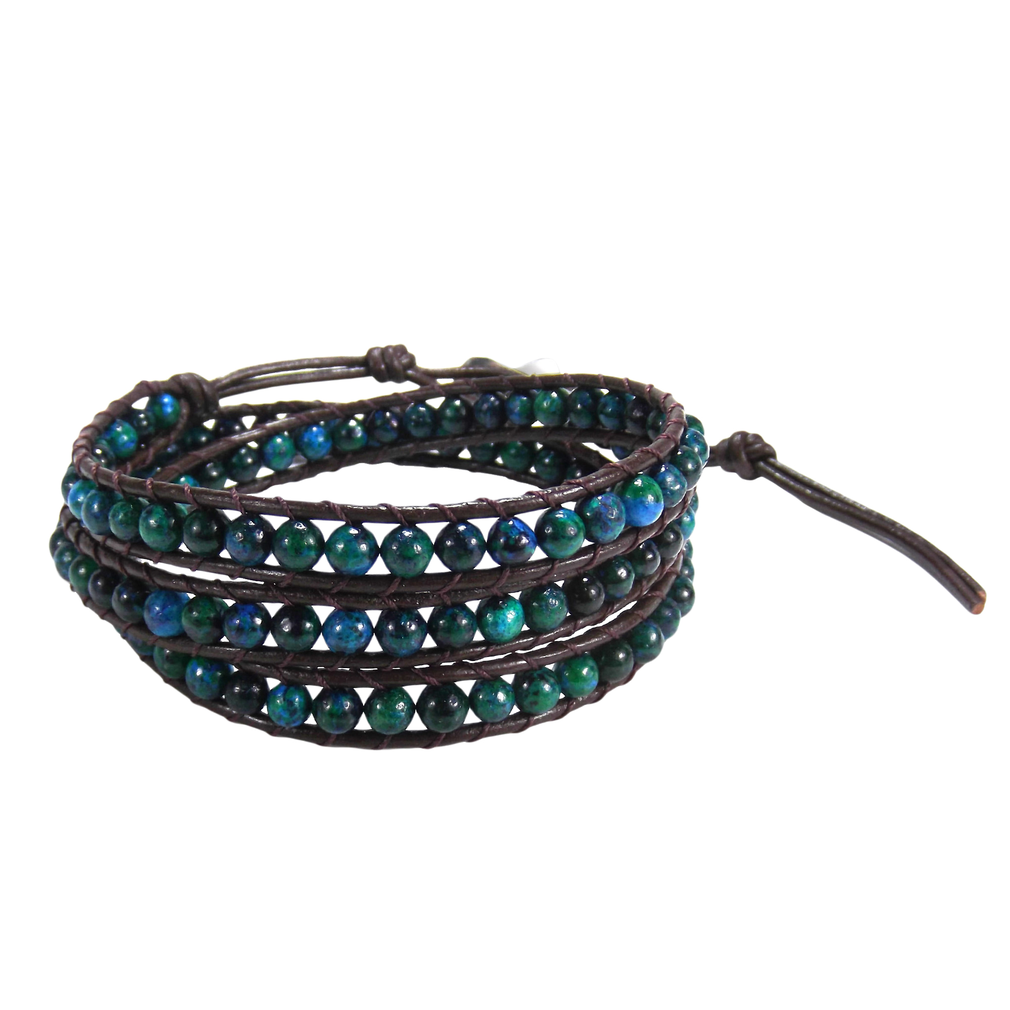 93da0b554cf5 Blue Green Muse Malachite Gemstone Tribal Wrap Leather Bracelet ...