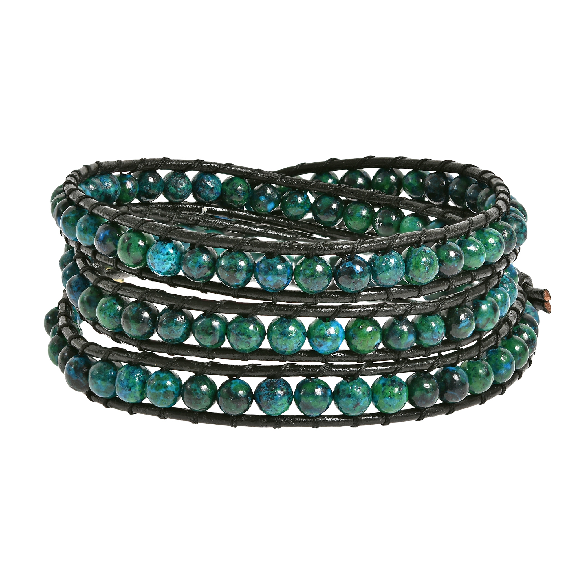 c3fa238fb6b0 Forest Green Chrysocolla Stones Triple Wrap Leather Bracelet - AeraVida
