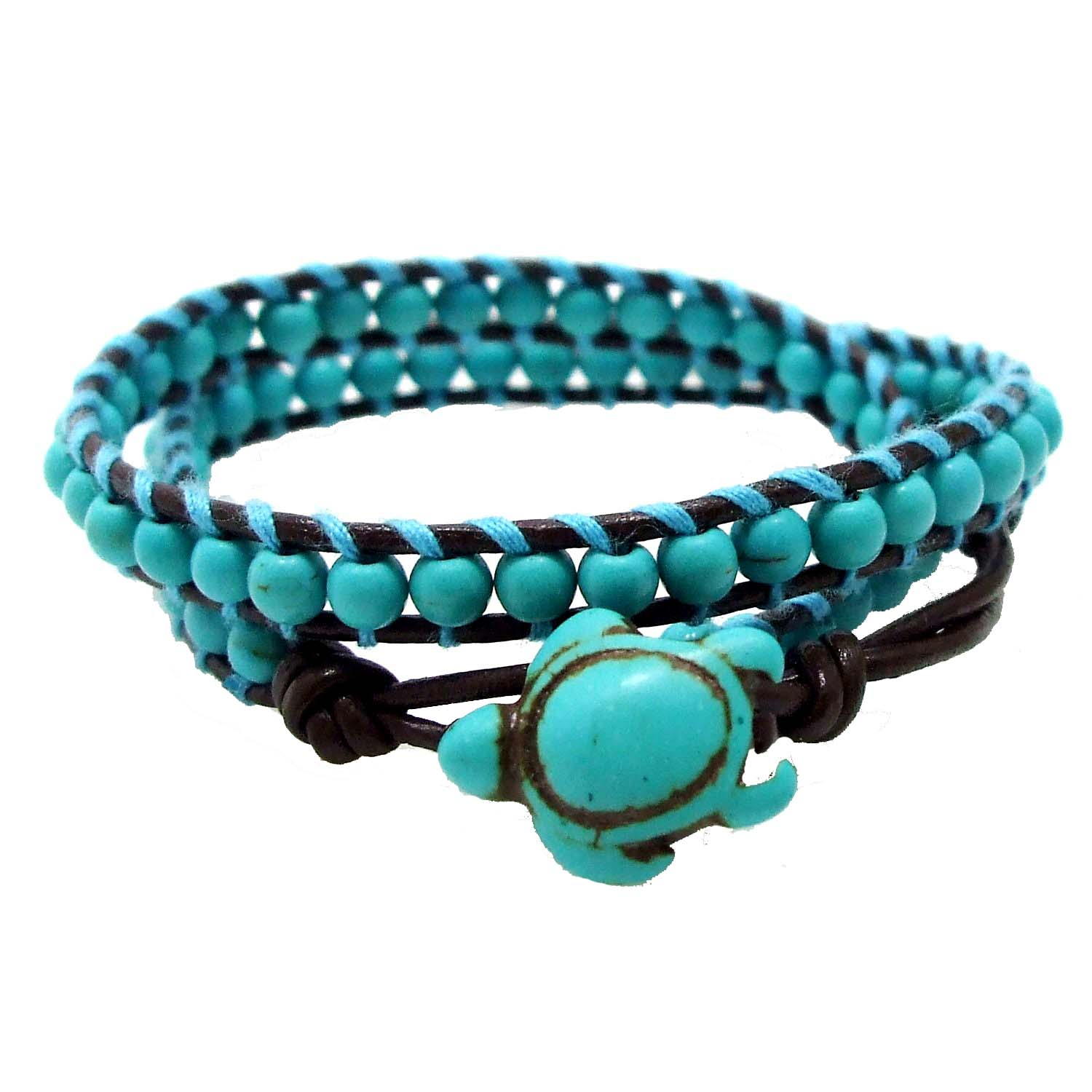 handmade this products timeless turtle sea aeravida bs ocean bracelet wrap individually knotted hand turquoise double bracelets details cool by features plt a