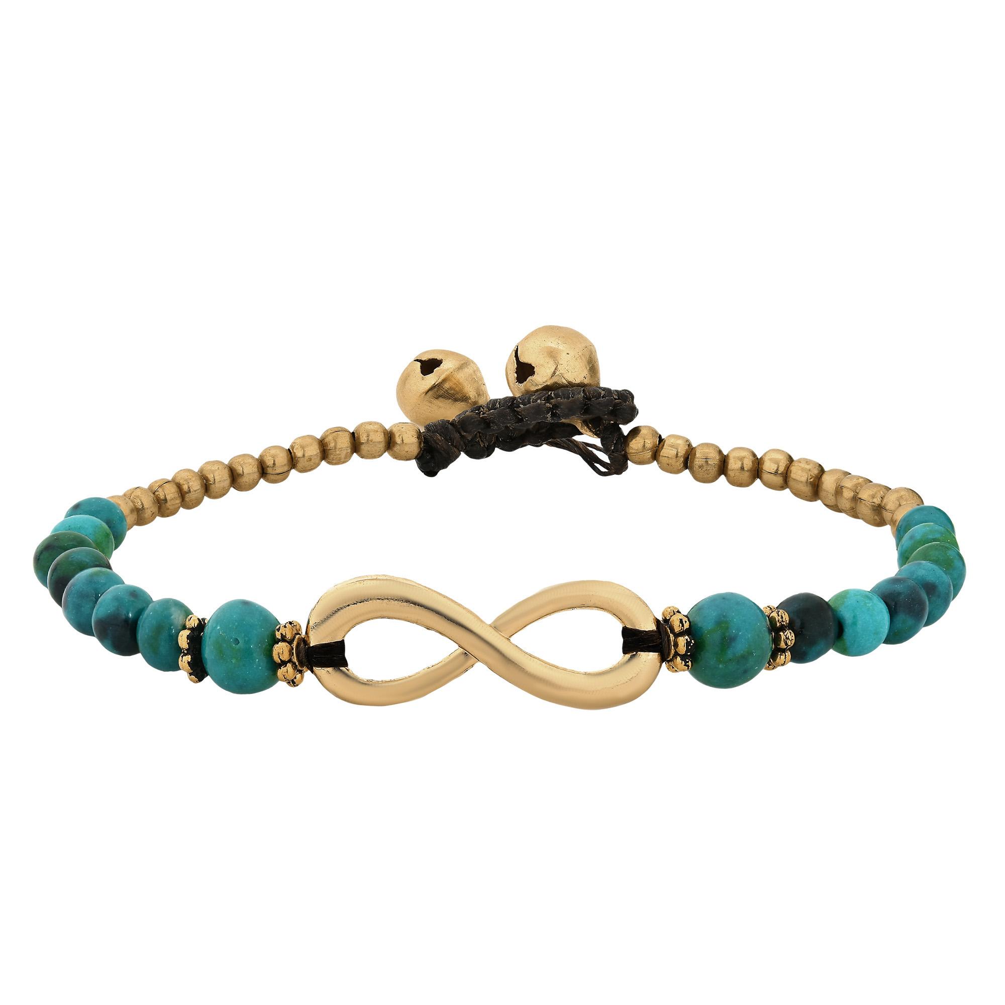 Beautiful Infinity Symbol With Green Malachite Brass Beads Handmade