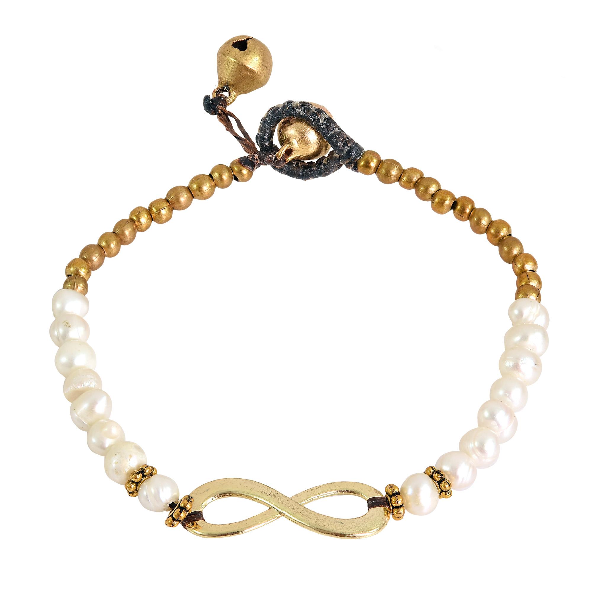 Beautiful Infinity Symbol With White Pearls Brass Beads Handmade