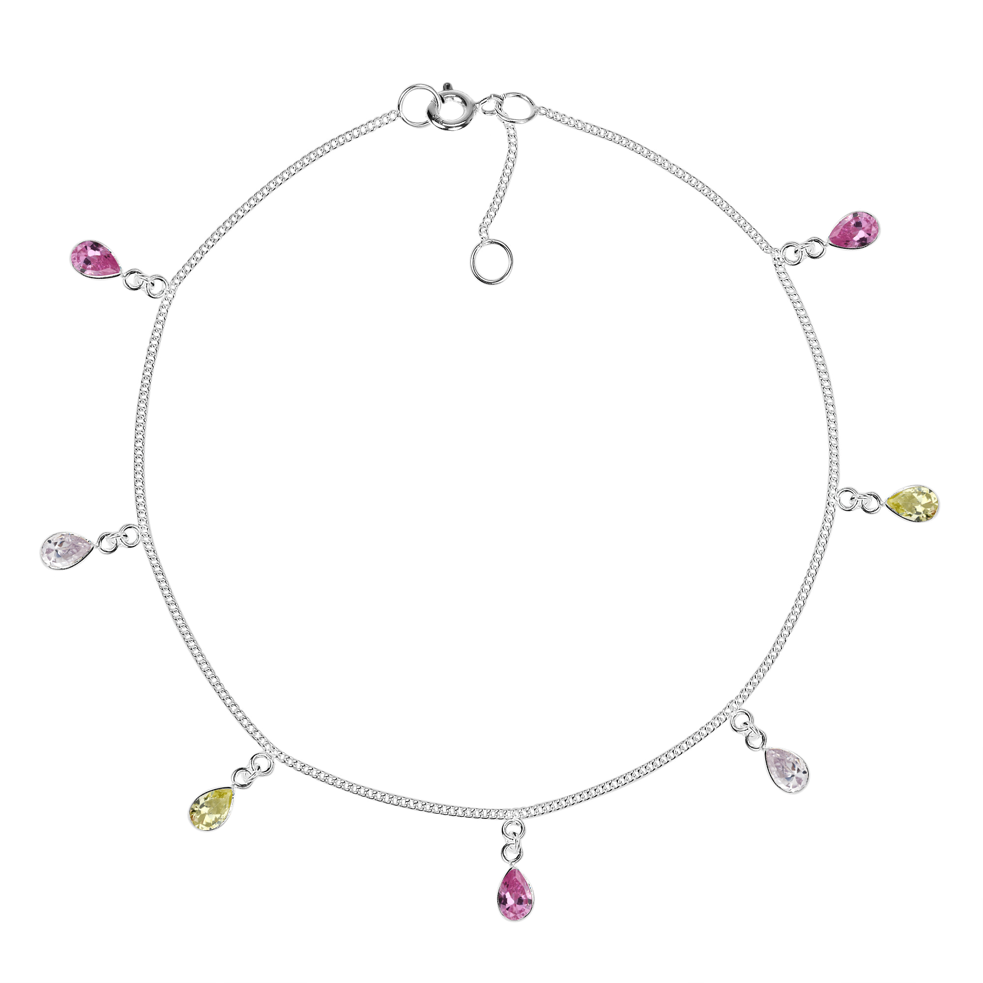 or zirconia anklet tone pin yard gold sterling the cubic cz by station silver necklace