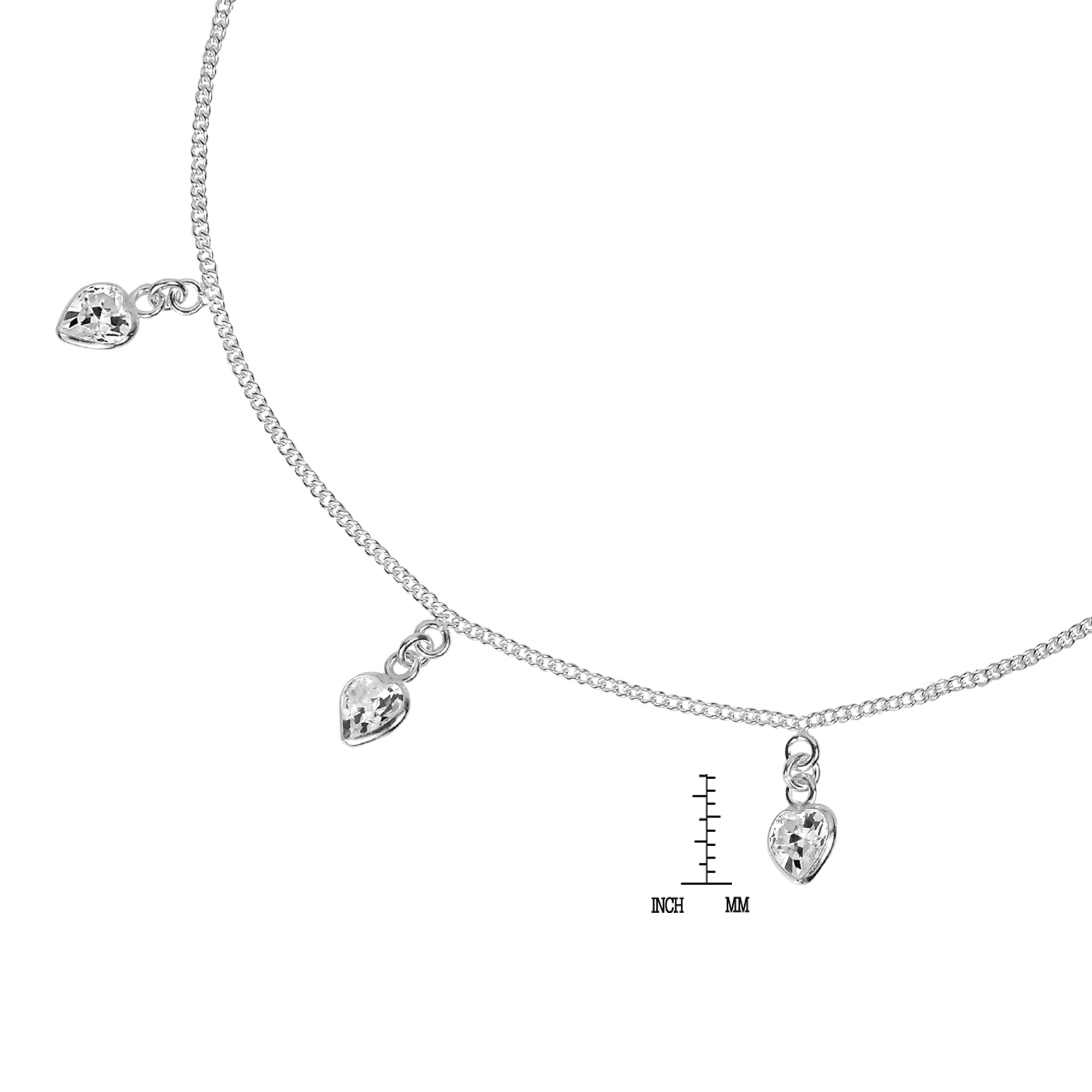 sterling silver free product watches jewelry bracelet heart overstock today anklet shipping charm dangling hearts