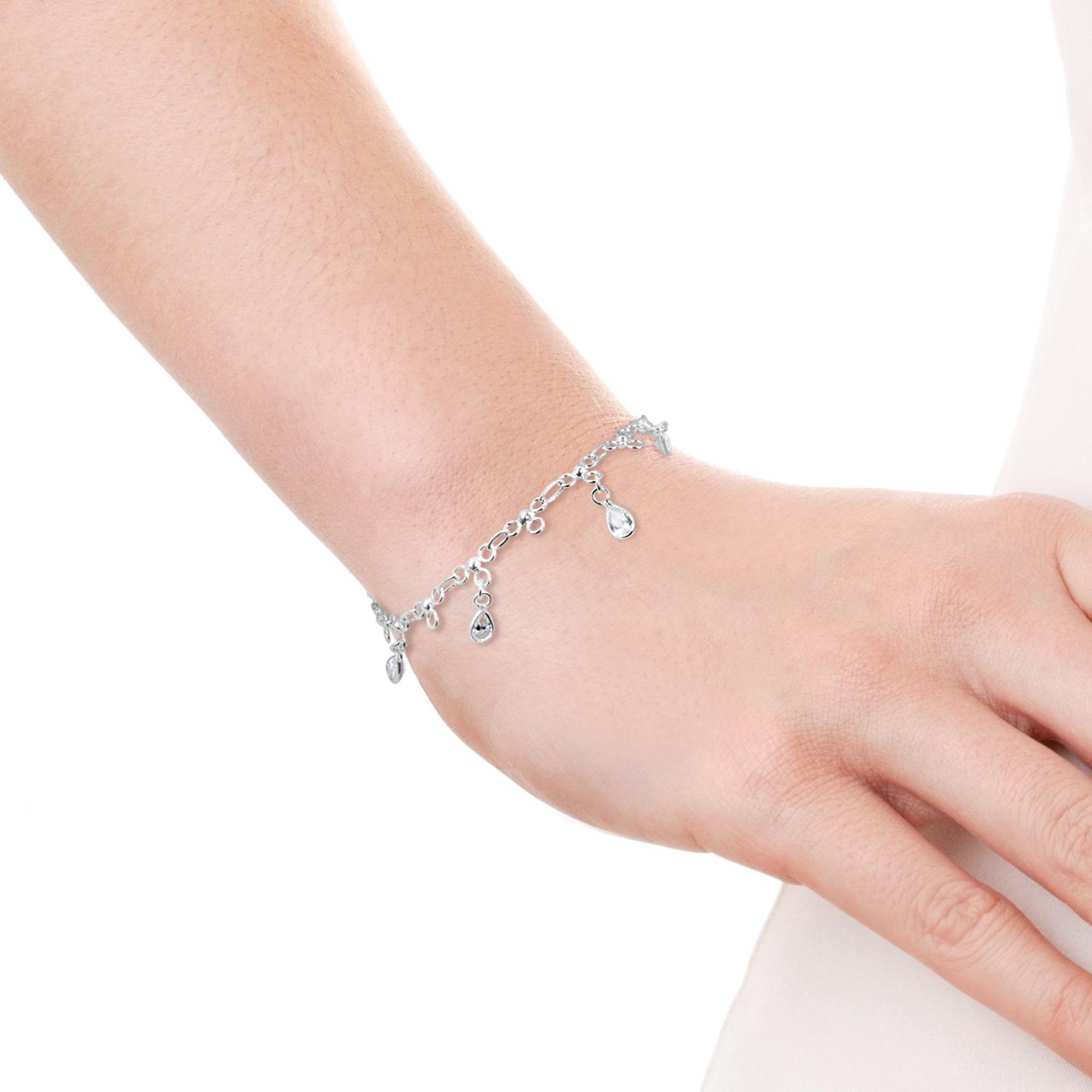 Dancing Clear Teardrop Cubic Zirconia Link Sterling Silver Bracelet ...