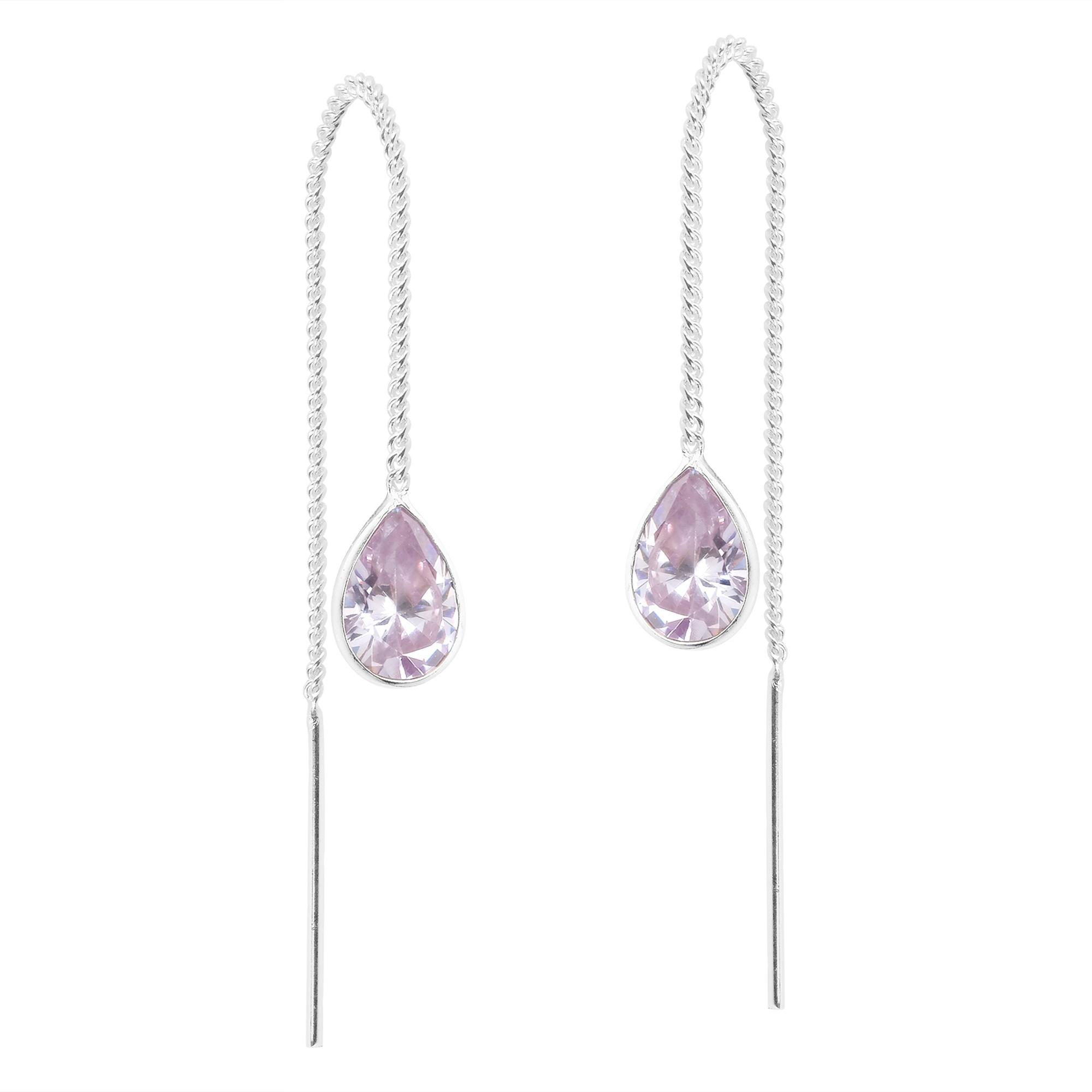 e1d56c14d Teardrop Lavender Purple Cubic Zirconia Thread Slide Sterling Silver ...