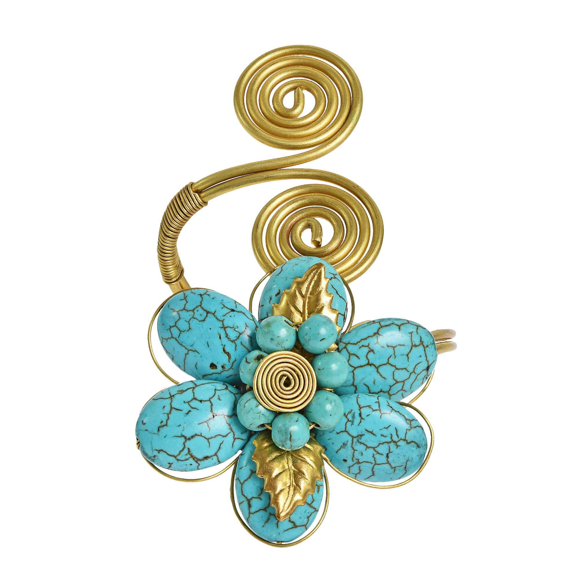 Natural beauty blue turquoise flower brass swirls wrap around a beautiful mix of colorful stone and brass wire is combined to create this stylish statement piece izmirmasajfo