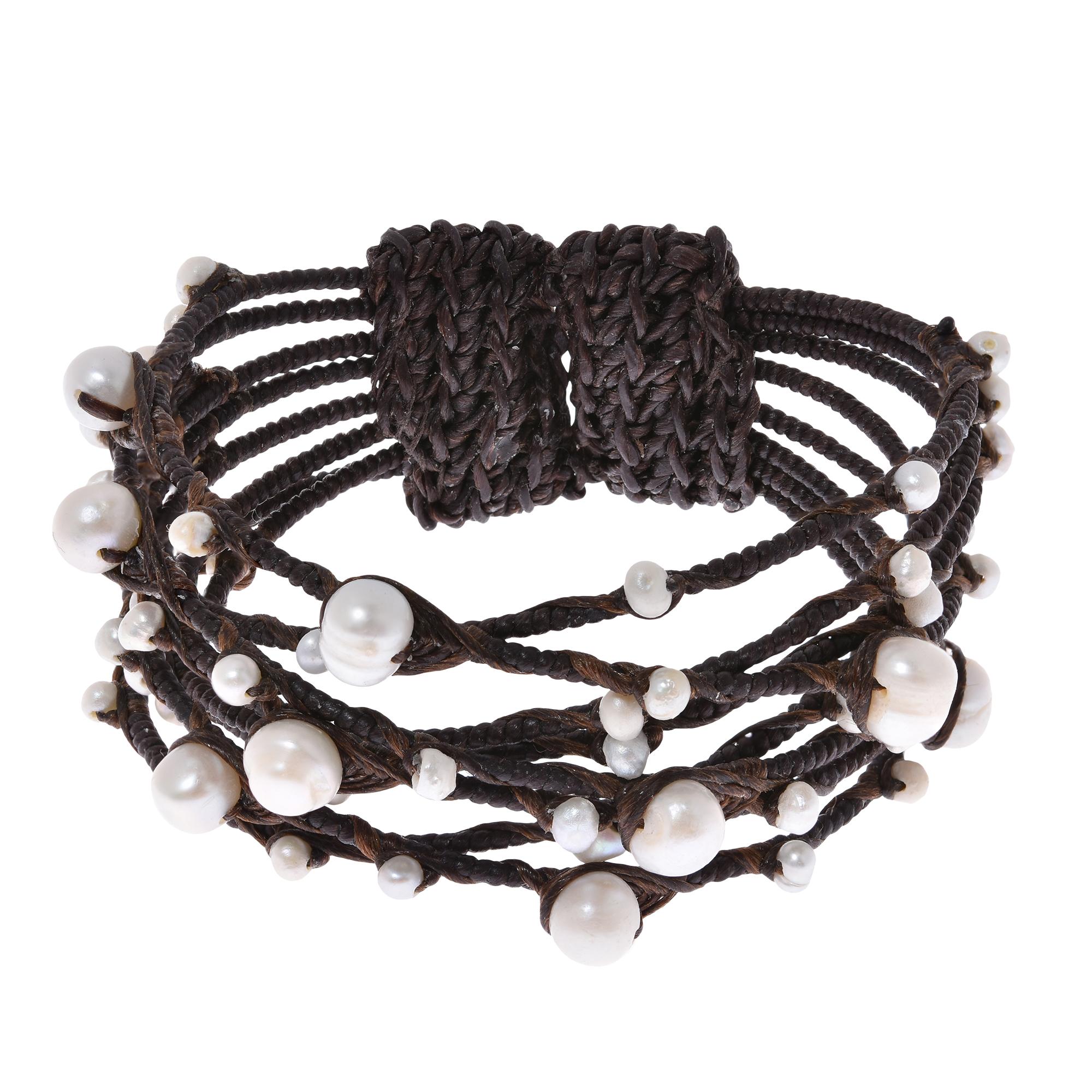 Contempo Criss Cross Rope Wrap Wire White Pearl Cuff - AeraVida