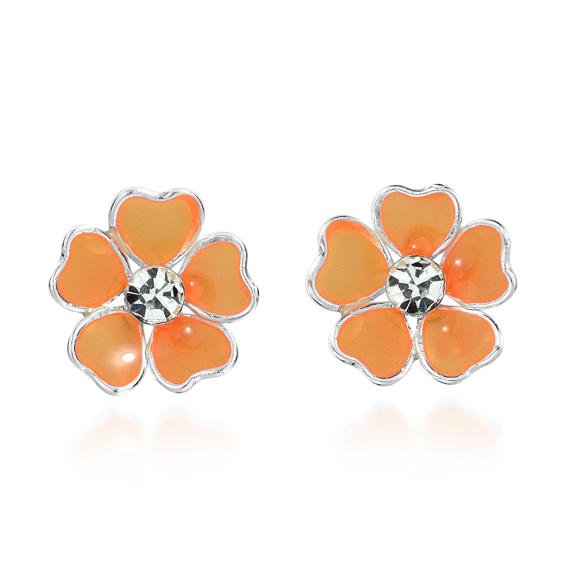 Mini Heart Petal Plumeria Orange Enamel Sterling Silver Stud