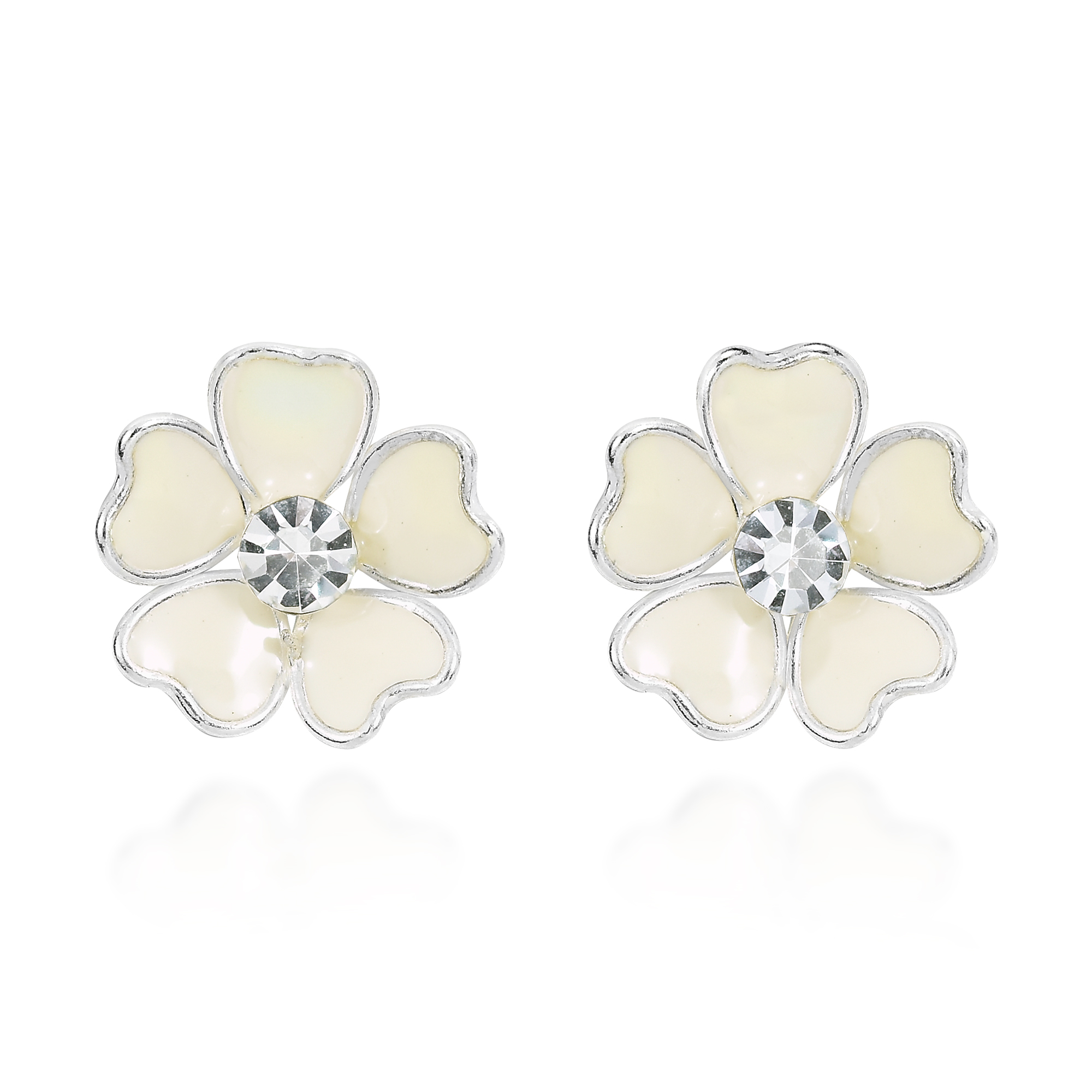 Mini heart petal plumeria white enamel sterling silver stud earrings inspired by the allure of native hawaiian flowers these earrings were handcrafted by artisan khun jai from thailand the earrings feature the plumeria izmirmasajfo