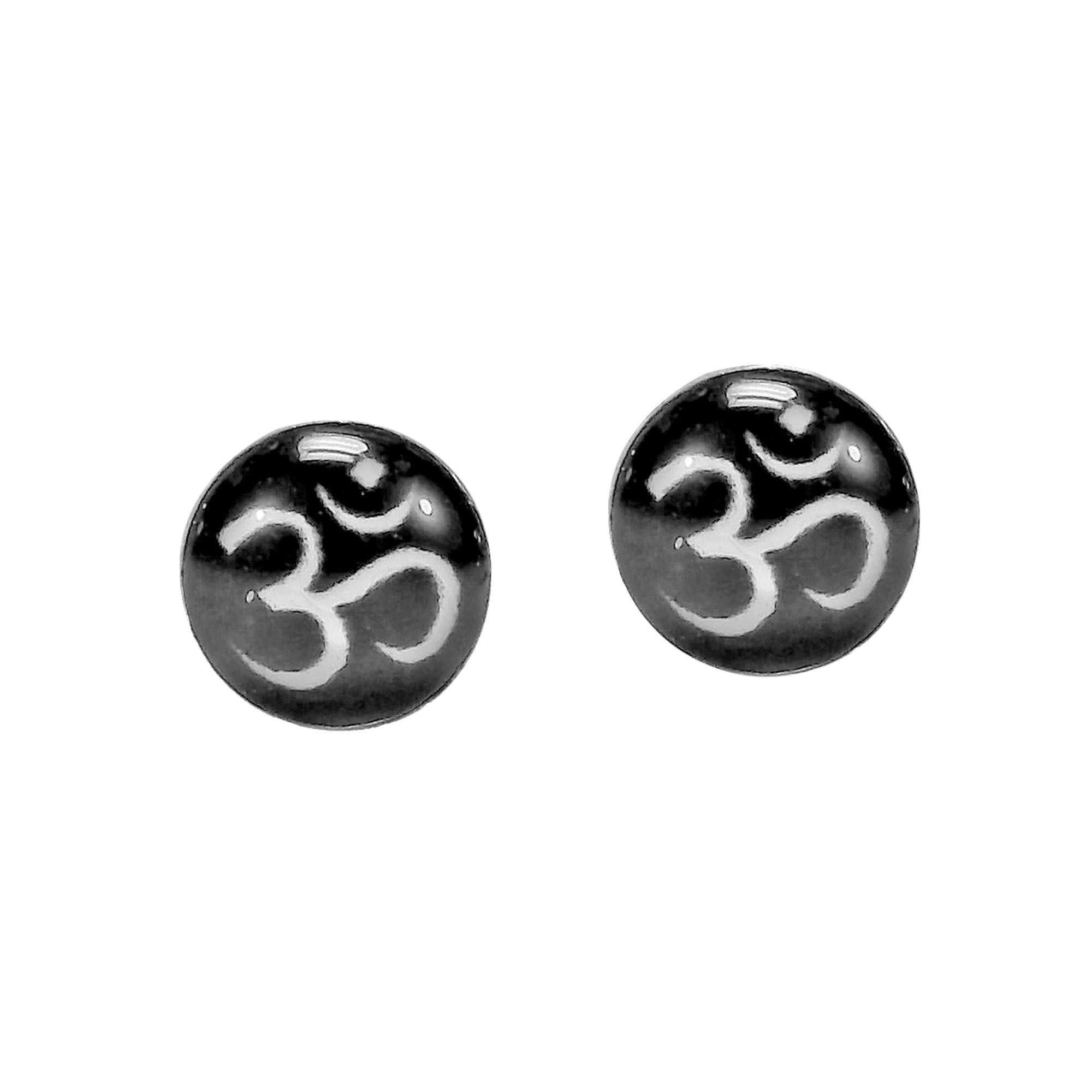 Petite Colorful Black Aum or Om Symbol Sterling Silver Stud