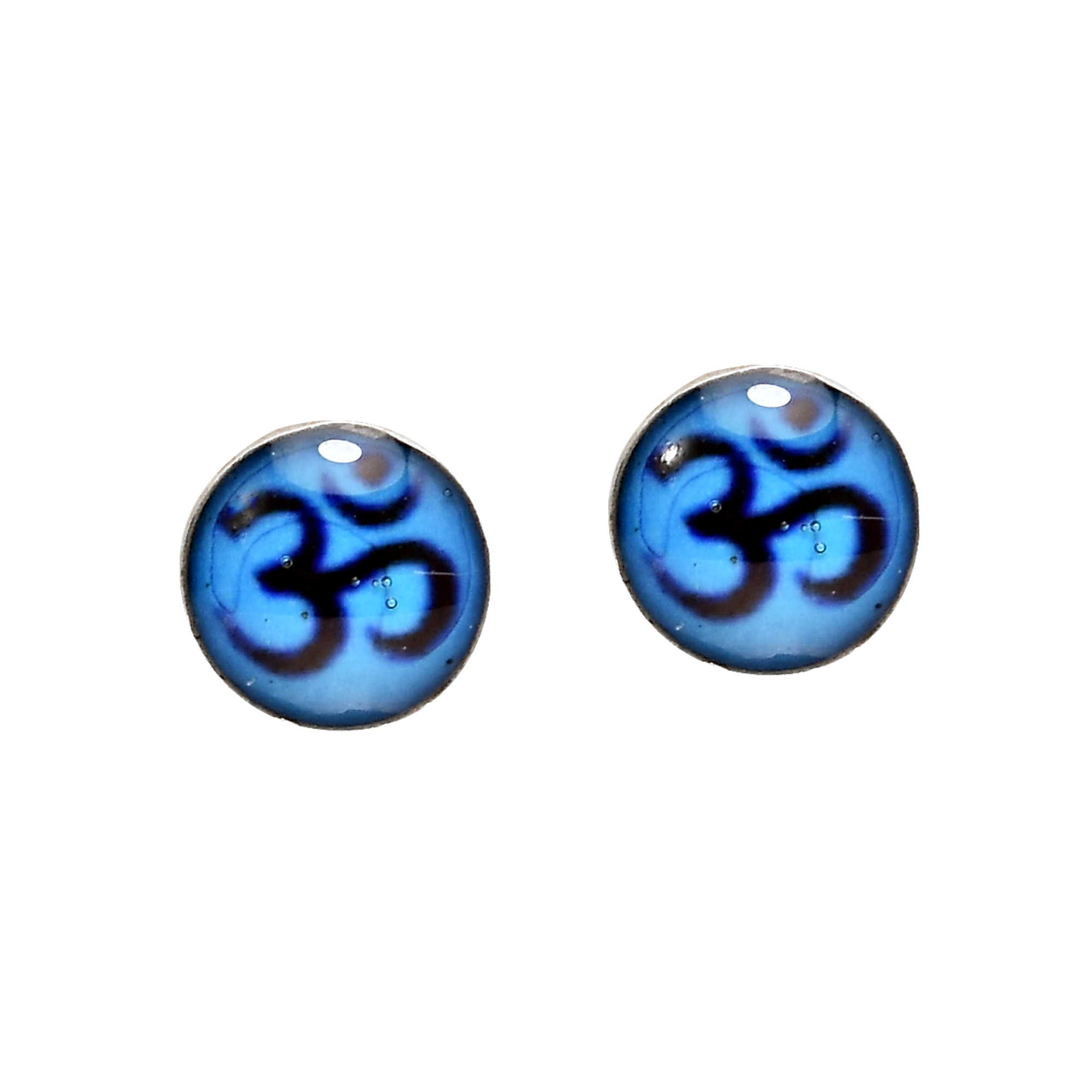 Petite colorful blue aum or om symbol sterling silver stud in hindu and buddhist practices the om or aum is the first mantra said in prayer which invites peace and meditation this idea of attaining inner peace and biocorpaavc Image collections