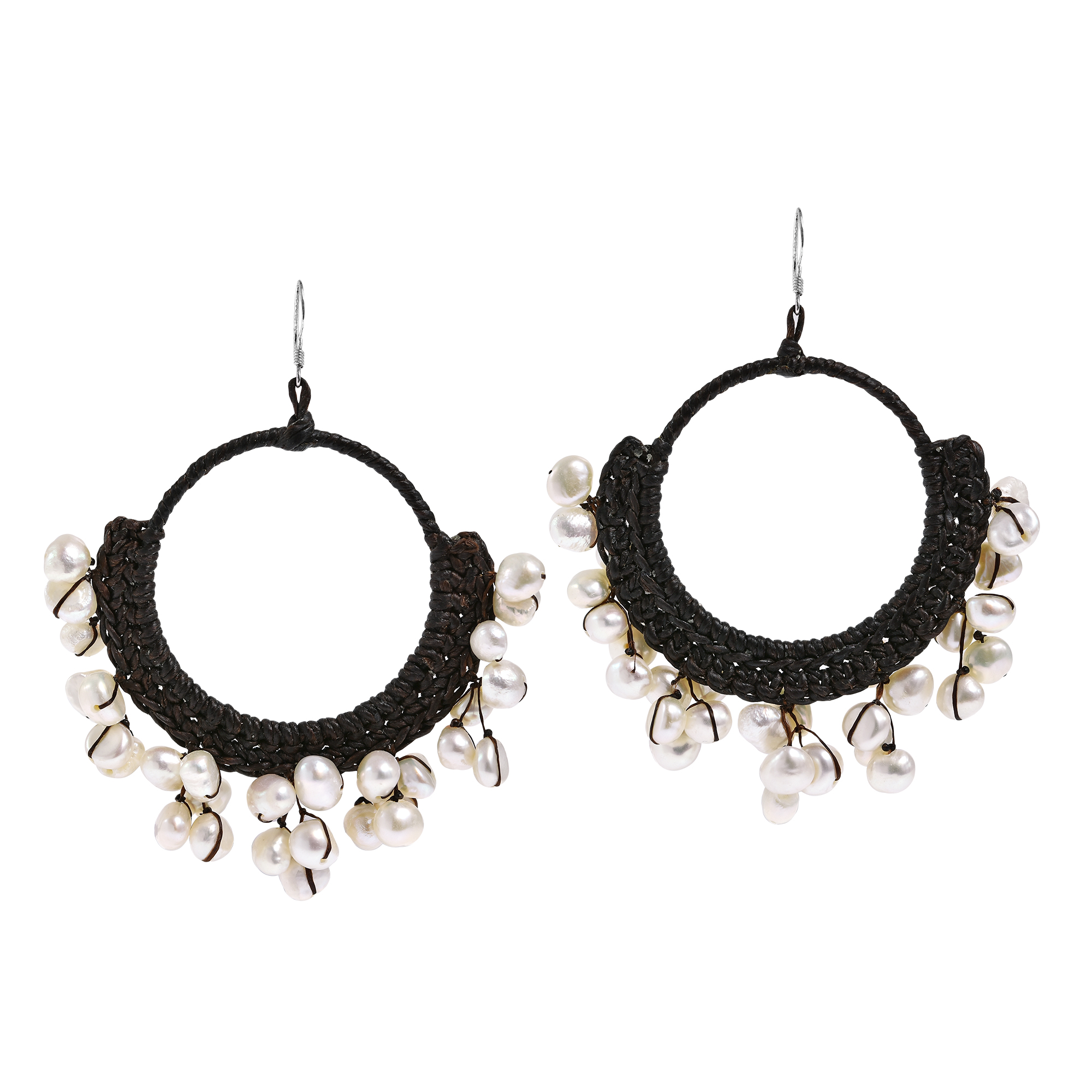 Freshwater white pearl chandelier hoop earrings aeravida dress with an elegant and earthy vibe with these earring featuring a cotton rope hoop accented with gemstones dangles on sterling silver hooks aloadofball Choice Image