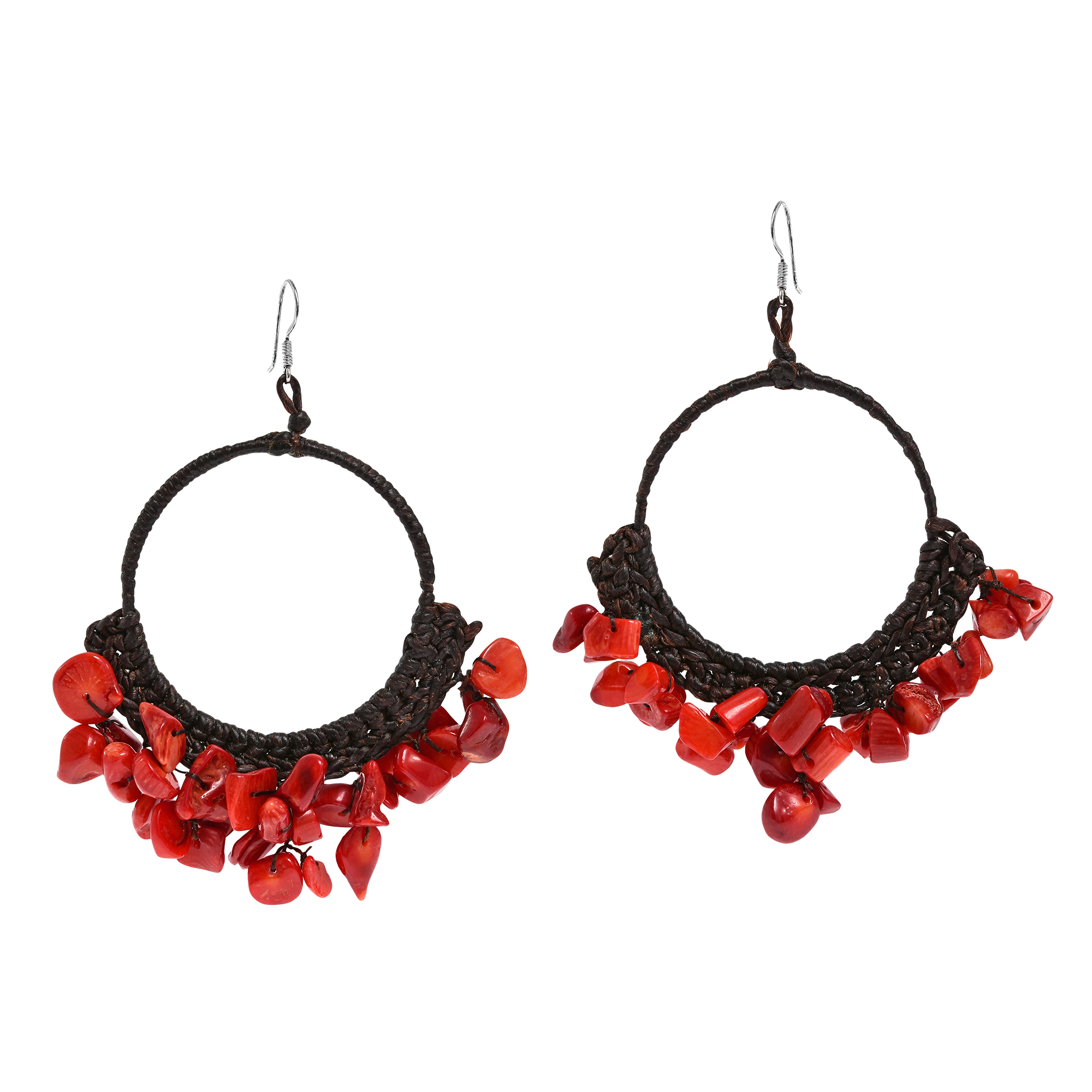 Red coral stone chandelier hoop earrings aeravida dress with an elegant and earthy vibe with these earring featuring a cotton rope hoop accented with gemstones dangles on sterling silver hooks aloadofball Choice Image