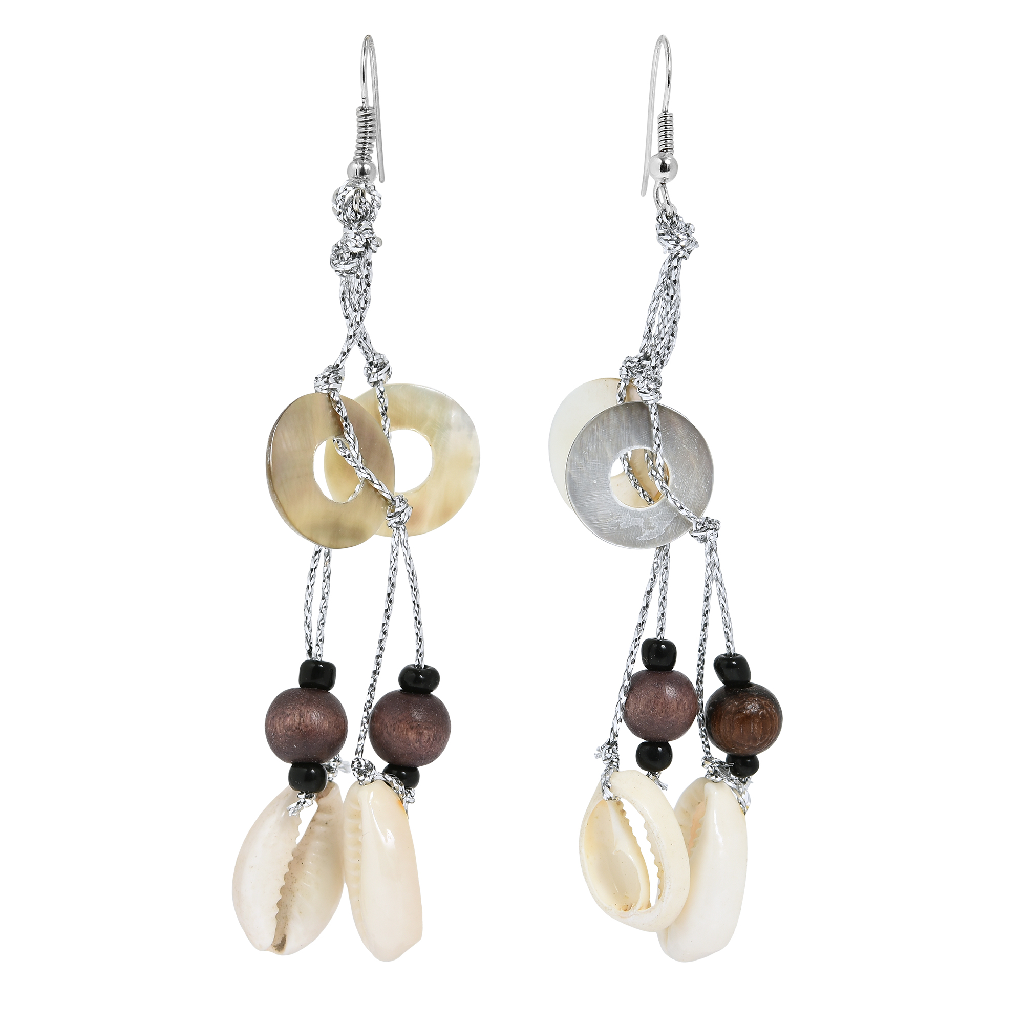 Handcrafted By Aeravida Artisans From The Philippine Archipelago, These  Beachythemed Earrings Are Made With Brownlip And Cowrie Shells