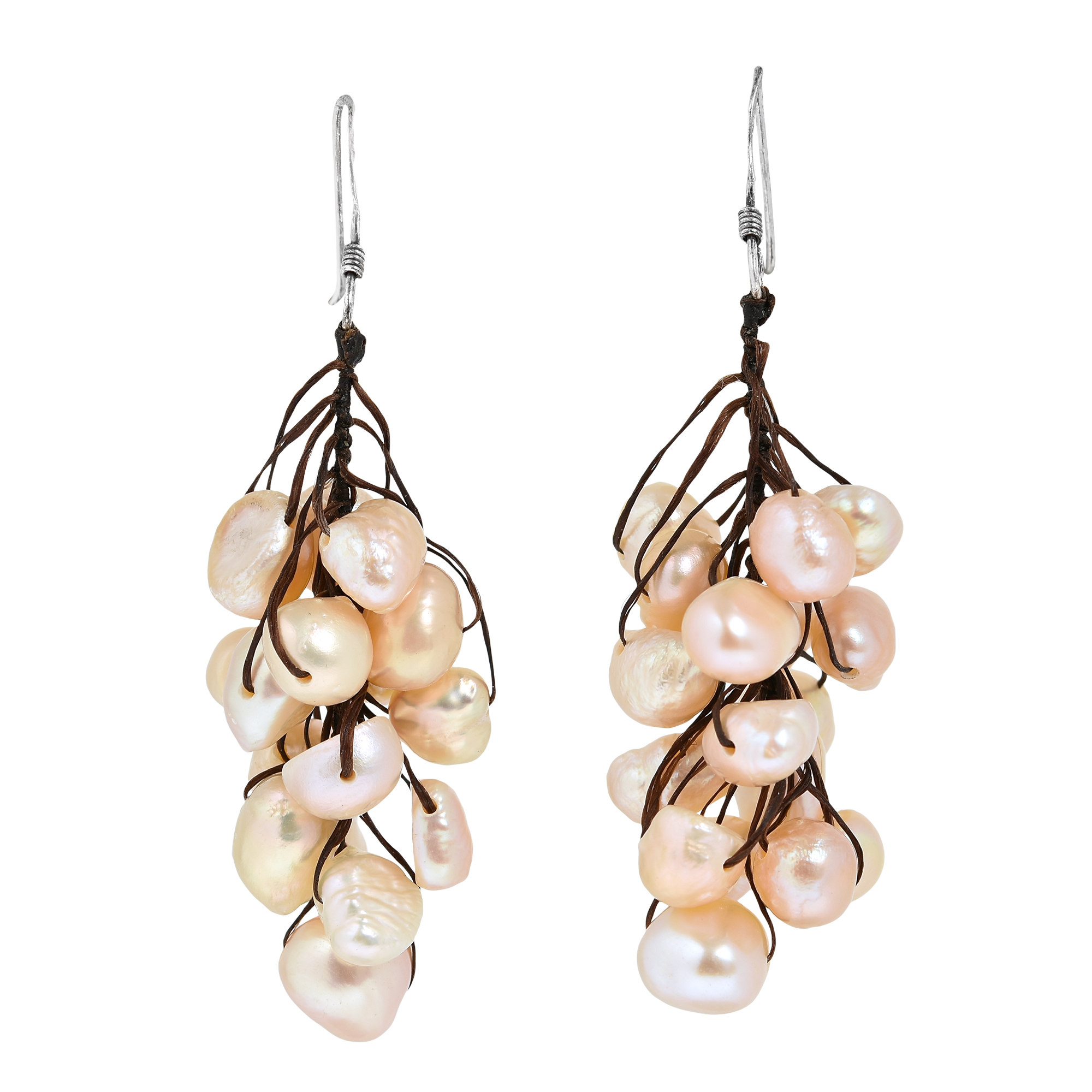 A Beautiful Cer Of Freshwater Pearls Create This Amazing Pair Dangle Earrings Resembling Bundle Ripe Gs On The Vine Each Individual Piece