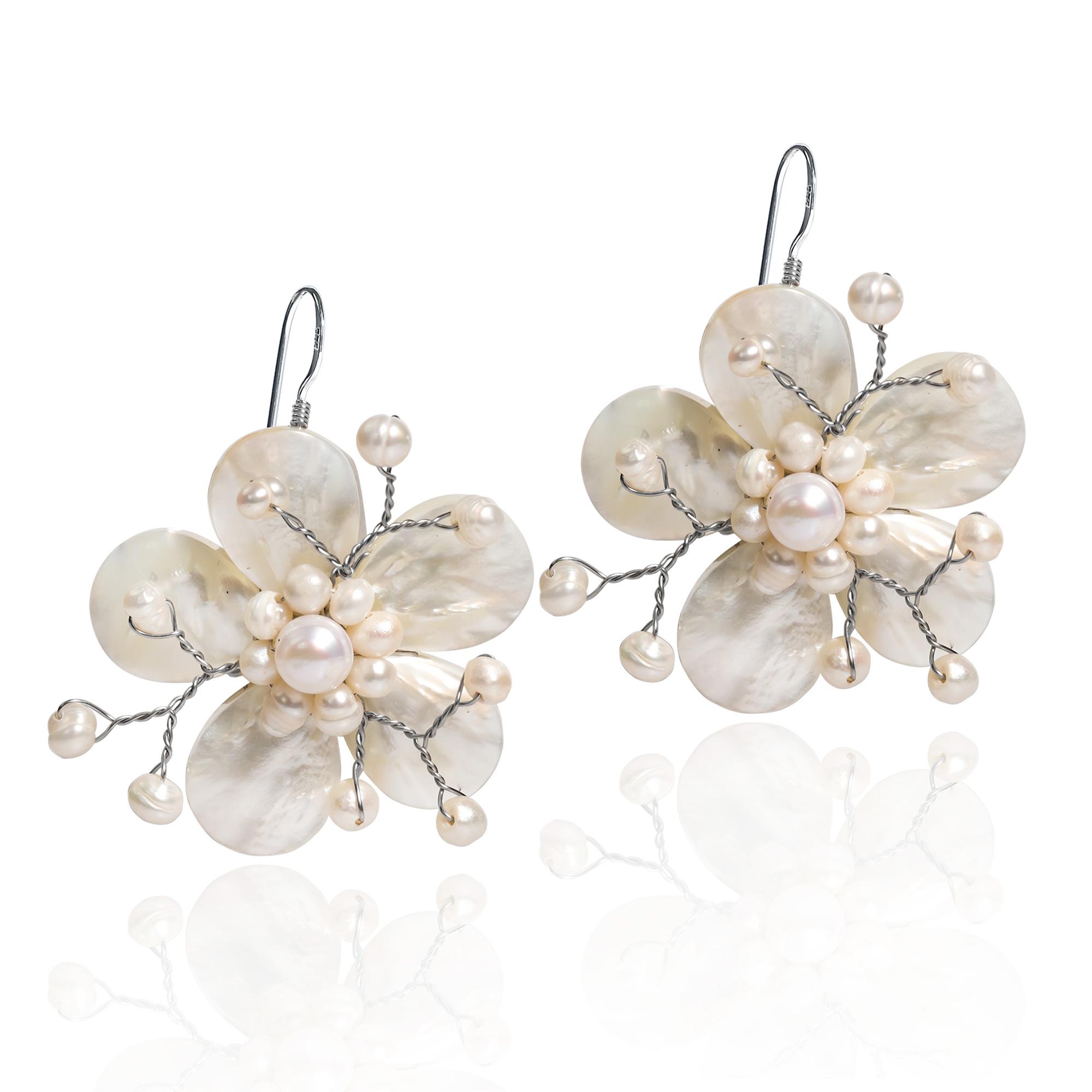 Mother Of Pearl Hawaiian Plumeria Flower 925 Silver Earrings Aeravida