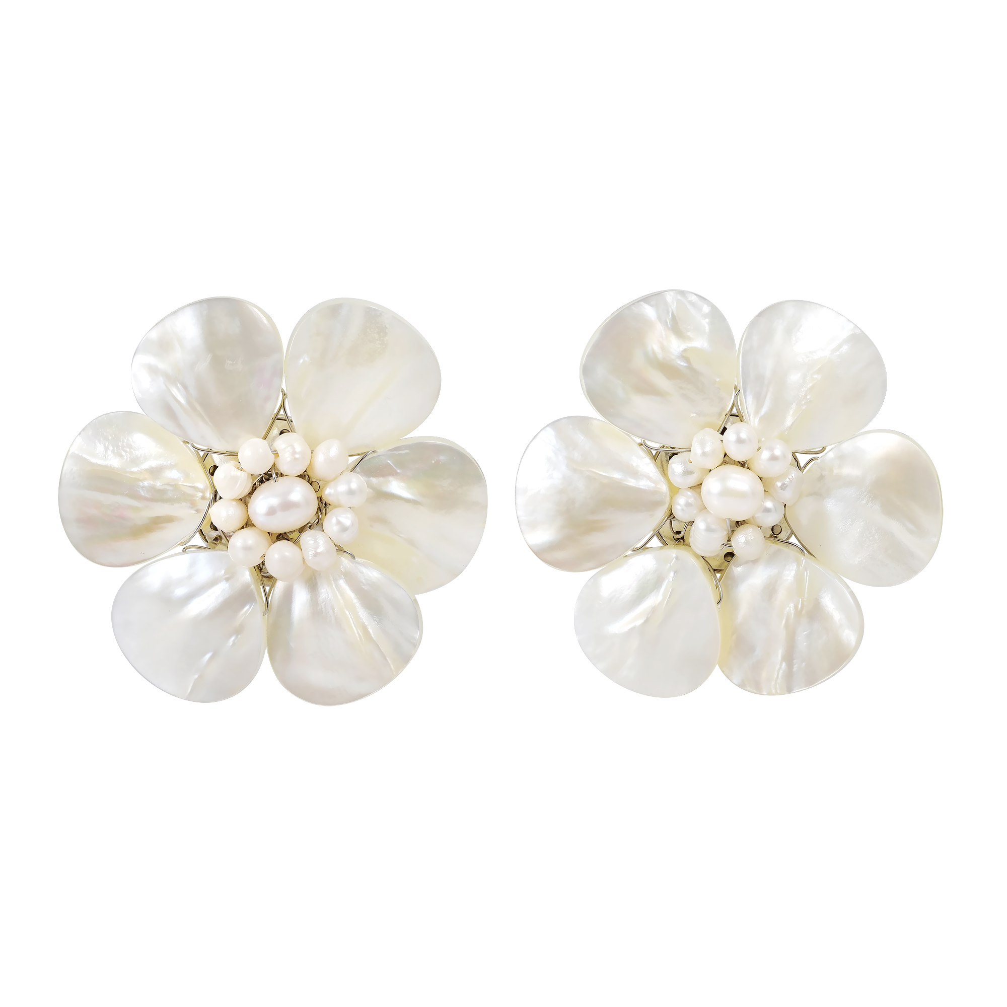 Pretty White Mother Of Pearl Flower Clip On Earrings Aeravida