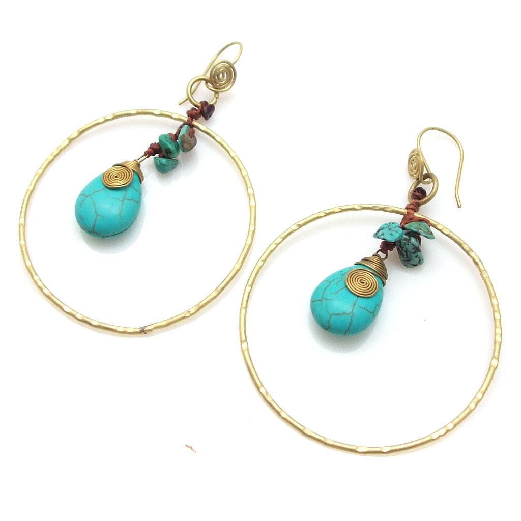 brass turquoise dangle hoop earrings ebay. Black Bedroom Furniture Sets. Home Design Ideas