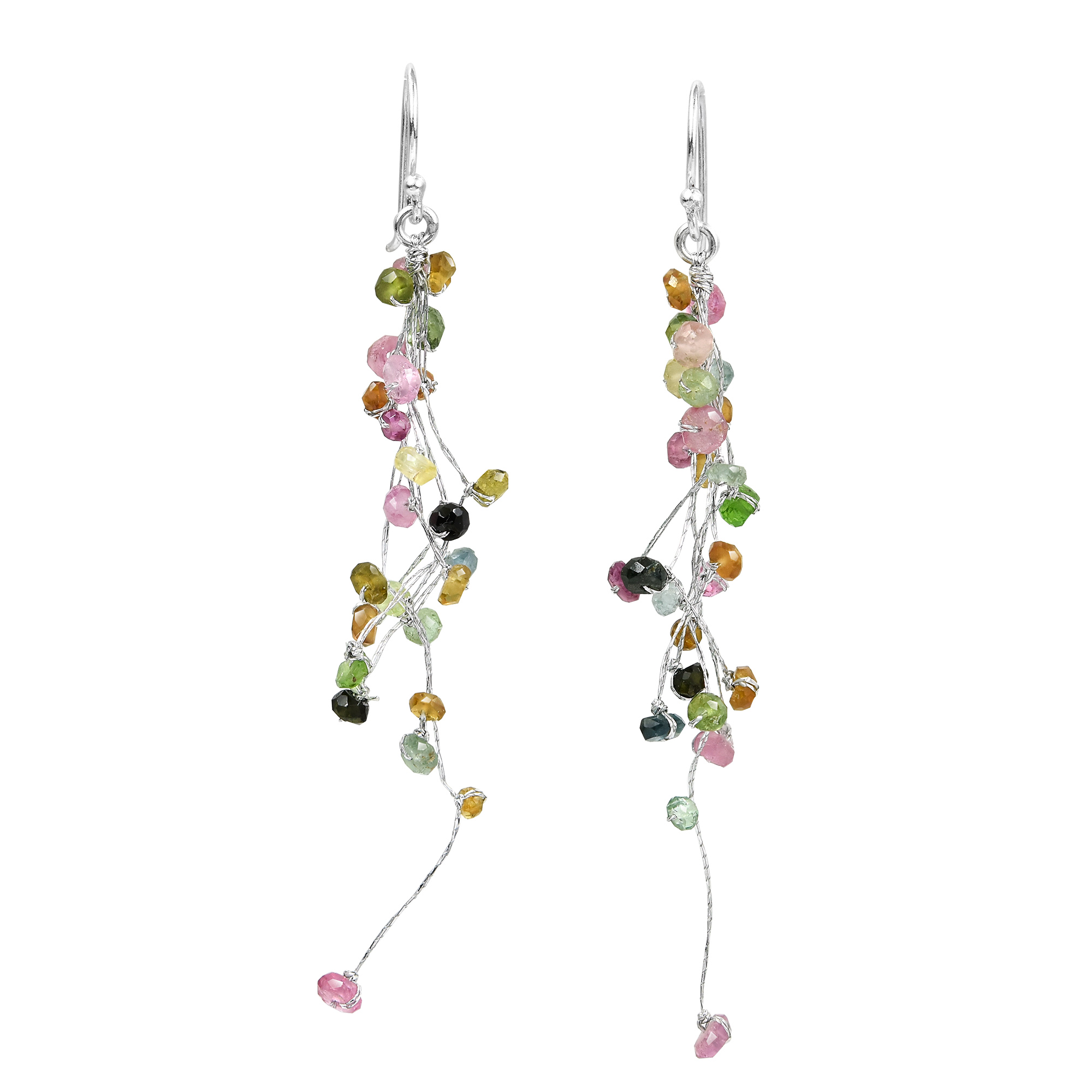 operandi moda earrings oy flow lines four colored sapphire gemstone multi long rainbow earring pin multicolor
