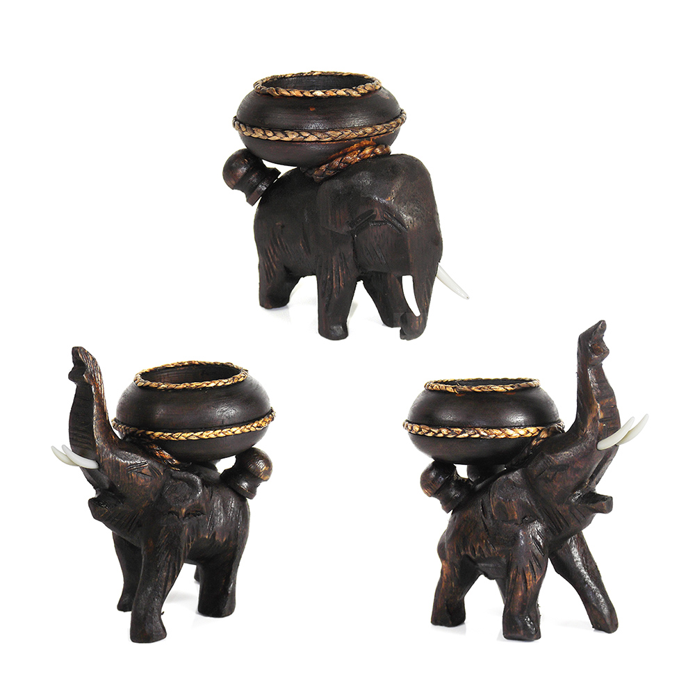 Three posing elephants carved rain tree wooden candle