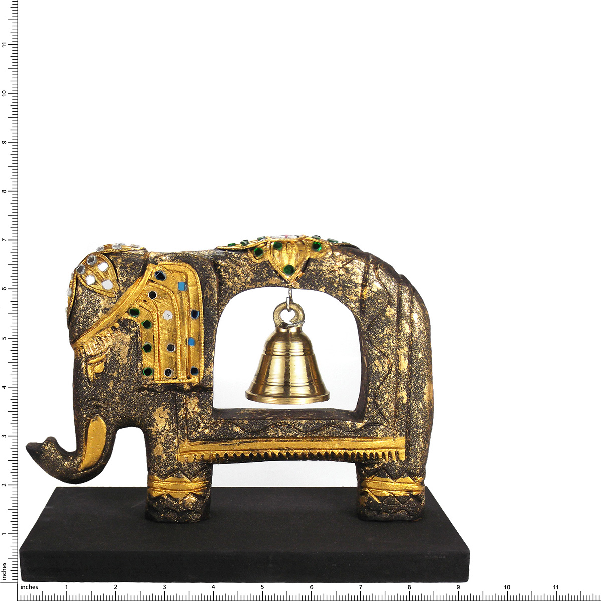 Jeweled Elephant Sculpture Rain Tree Wooden Brass Bell Aeravida