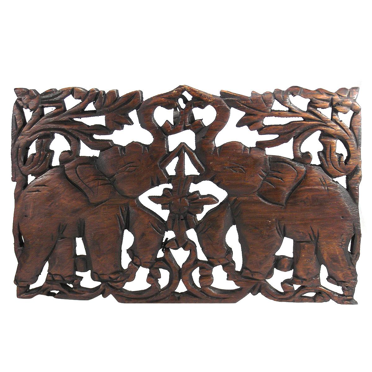 Jubilant double thai elephant calves hand carved teak wood