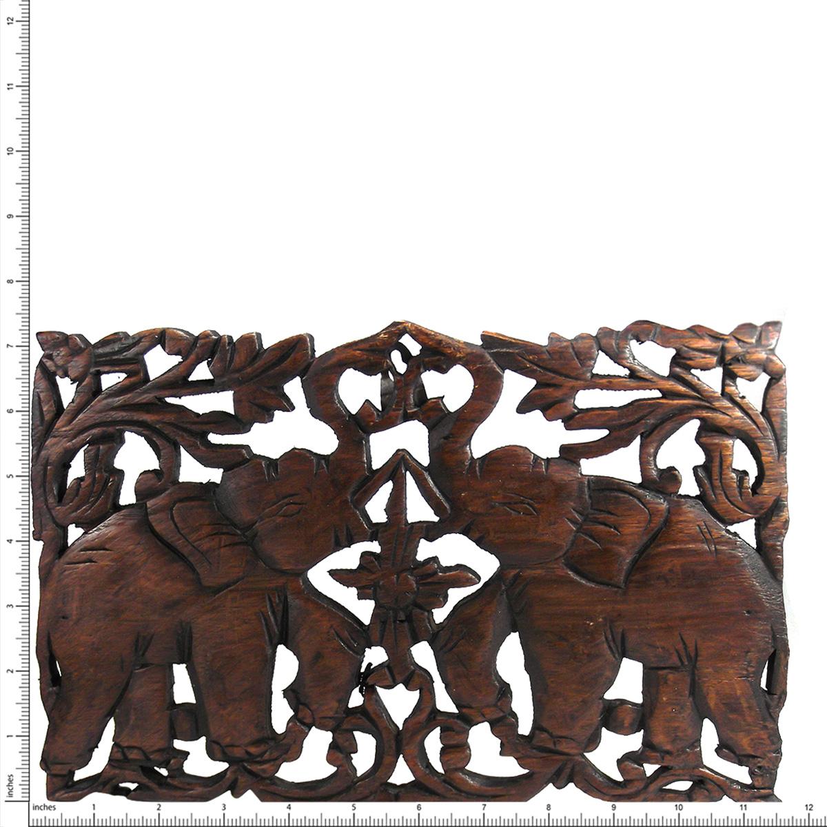 Jubilant Double Thai Elephant Calves Hand Carved Teak Wood Wall Art 7x12 Aeravida