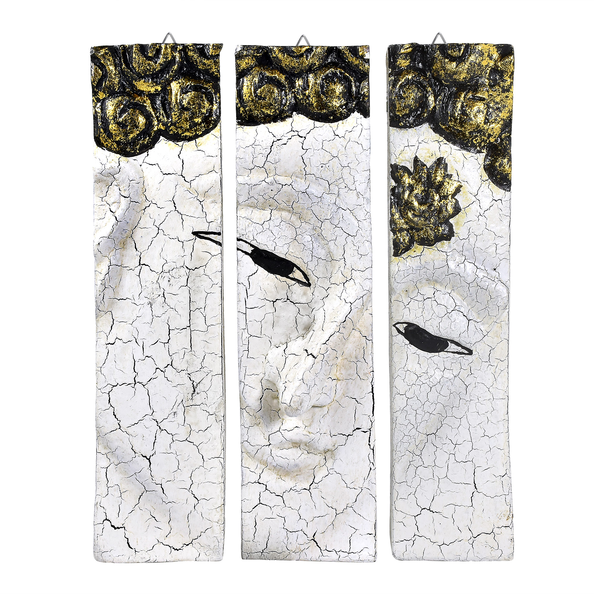 White Wood Wall Art White Crackle Buddha Face Three Panel Hand Carved Wood Wall Art