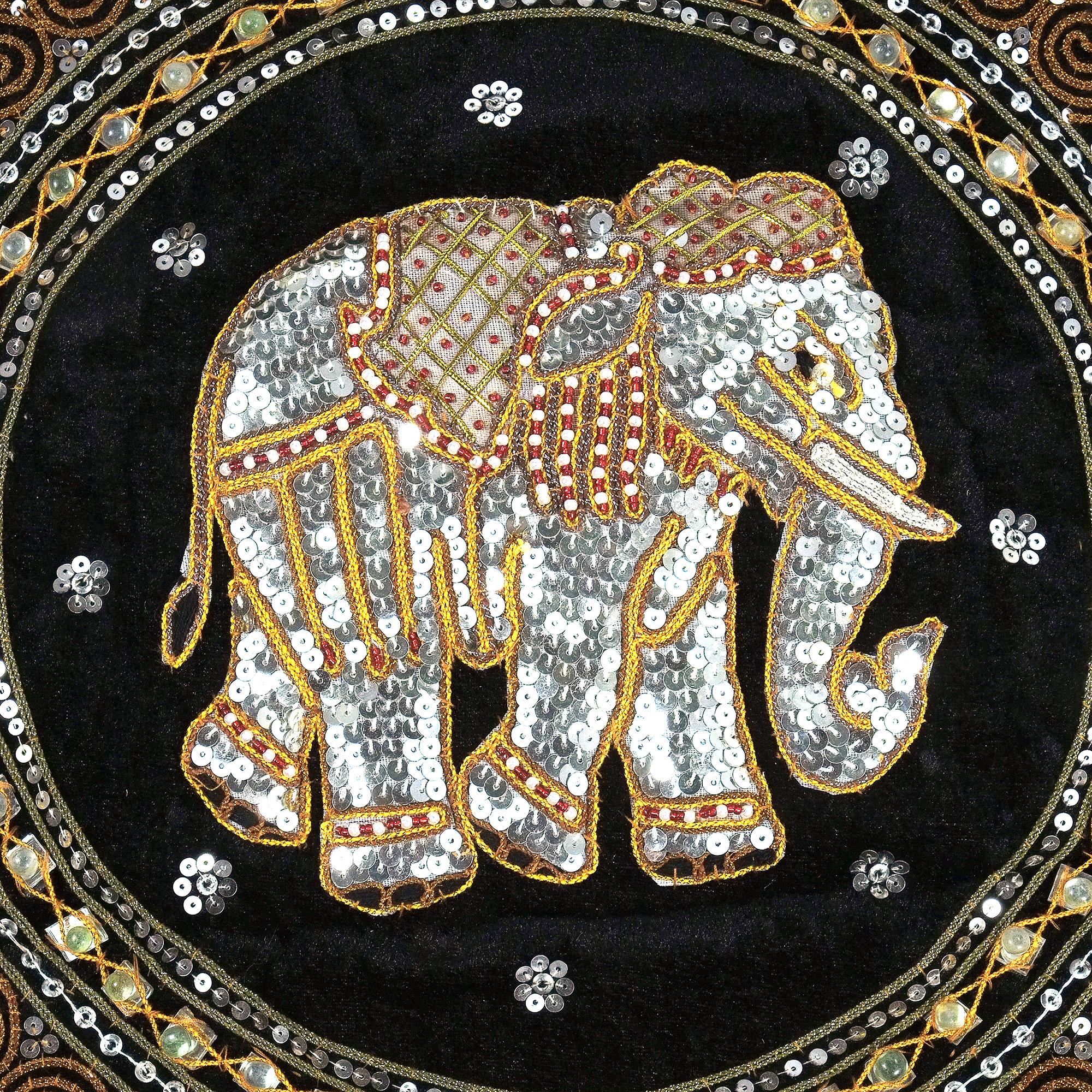 Thai Elephant Embroidered Velvet Throw Pillow Cases Set Of 2 Black