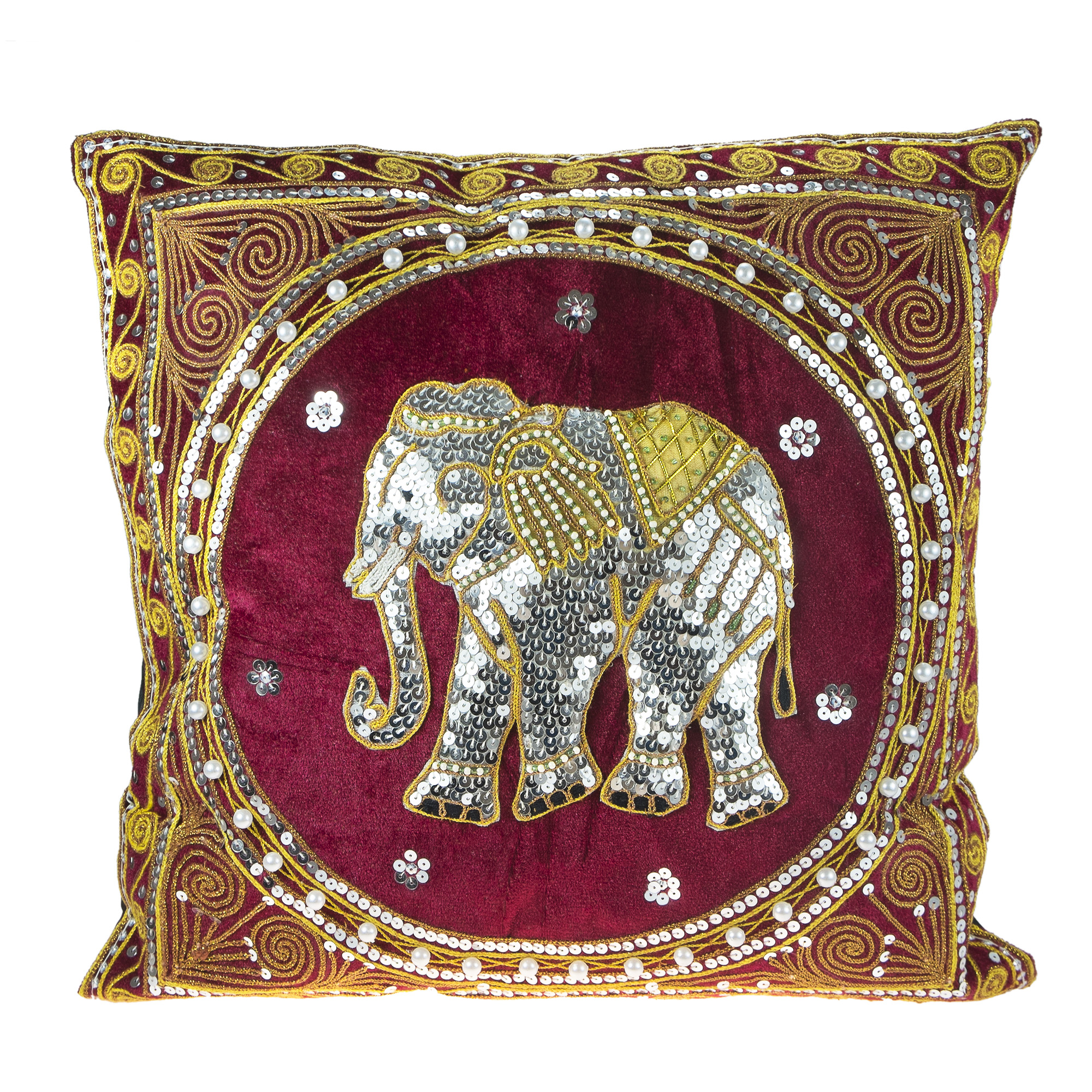 Thai Elephant Embroidered Velvet Throw Pillow Cases Set Of 2 Red Aeravida