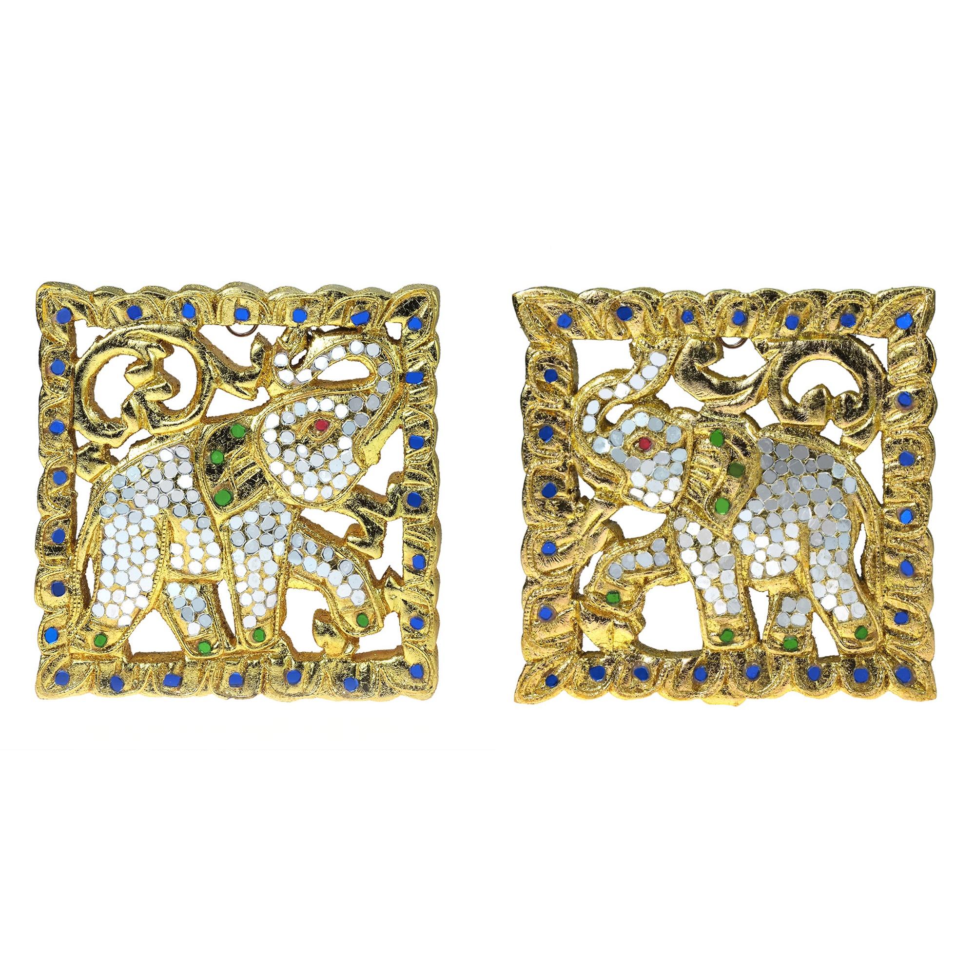 Set of Two Thai Elephant Gilded 24k Gold Leaf Mosaic Carved Wood ...