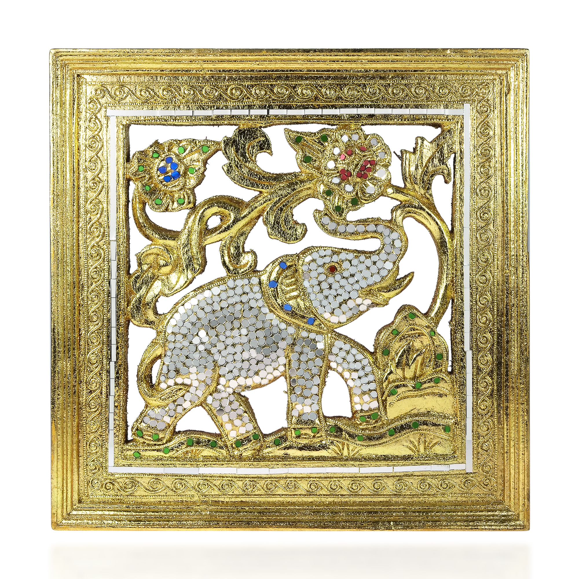 Elephant Jubilee Gilded 24k Gold Leaf Mosaic Mirror Carved Wood ...