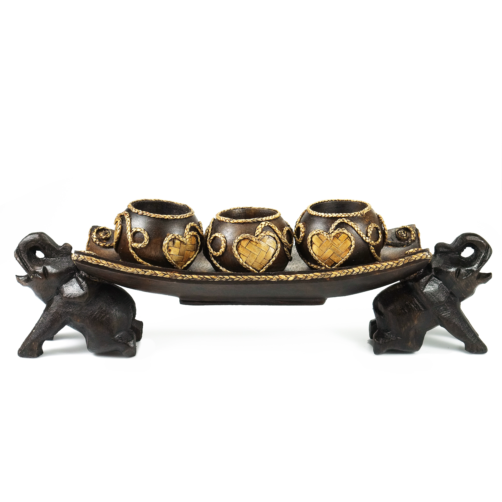 Home Decor Unique Jewelry Hand Crafted Gifts Candles In: Thai Elephant Tray Carved Rain Tree Wooden Candle Holder