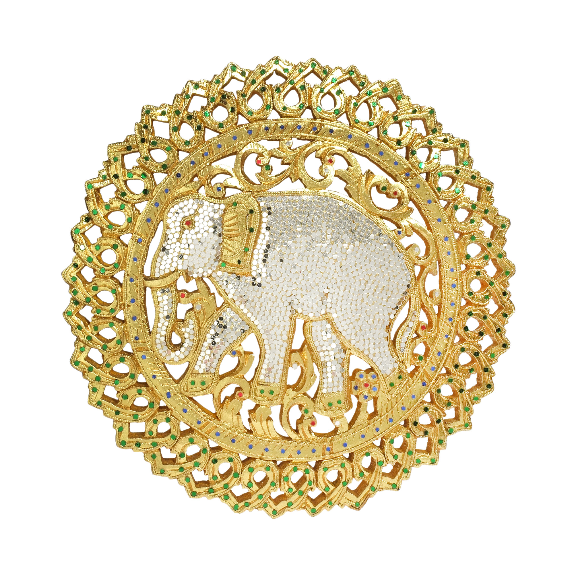 The Grand Elephant Gilded 24k Gold Hand Carved Wood Wall Art - AeraVida