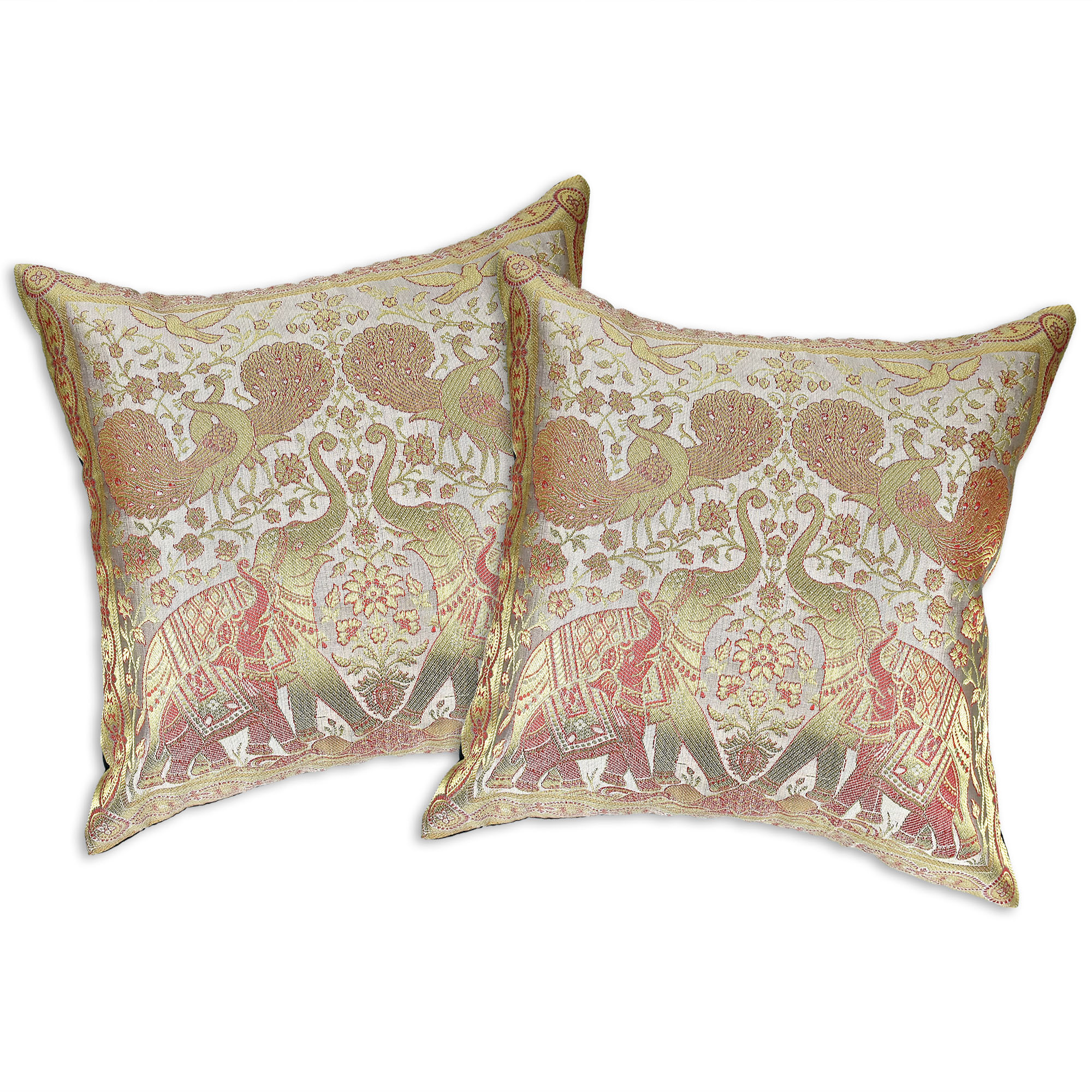 Featuring a traditional Siamese motif with elephants, peacocks and birds, these decorative throw pillow covers deliver a ...