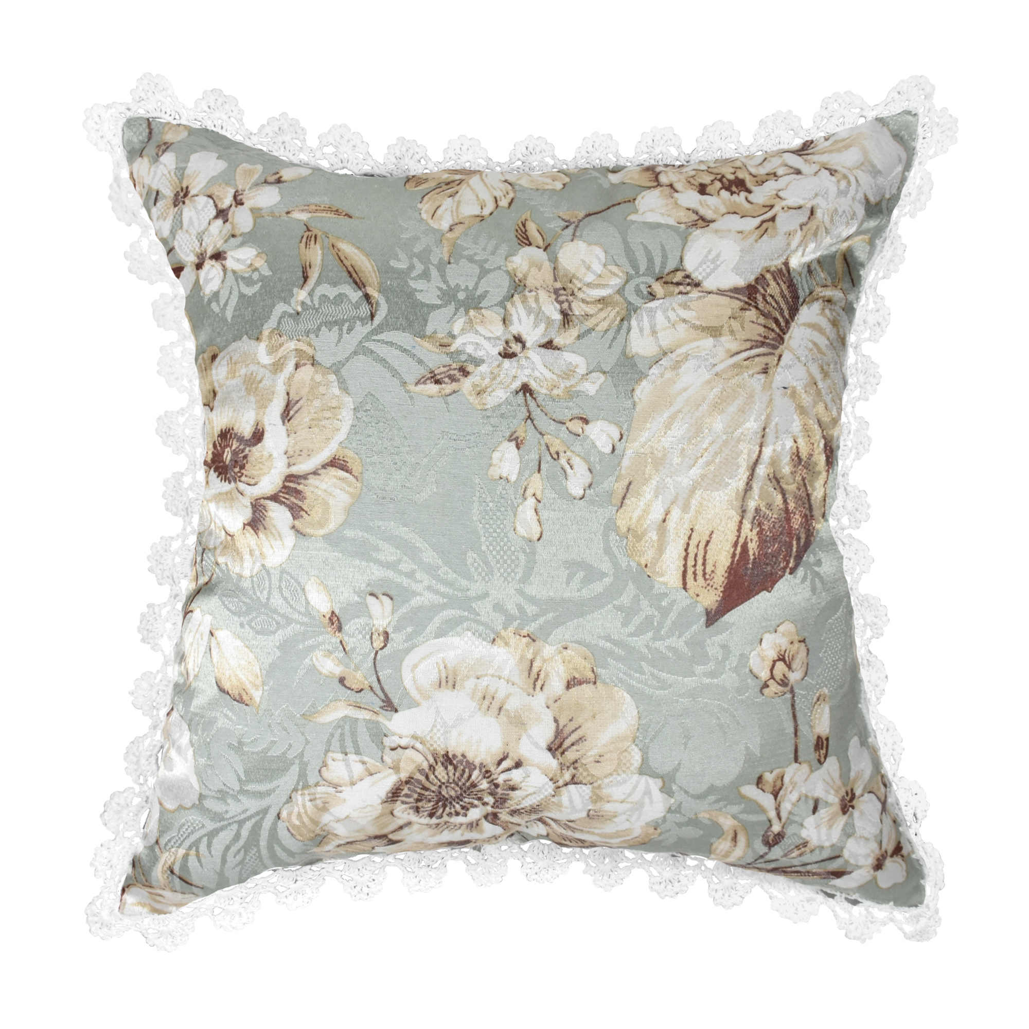 White Shabby Chic Pillow Cases : Shabby Chic Crochet Trim Tropical White Floral Jacquard Throw Pillow Case Pair - AeraVida