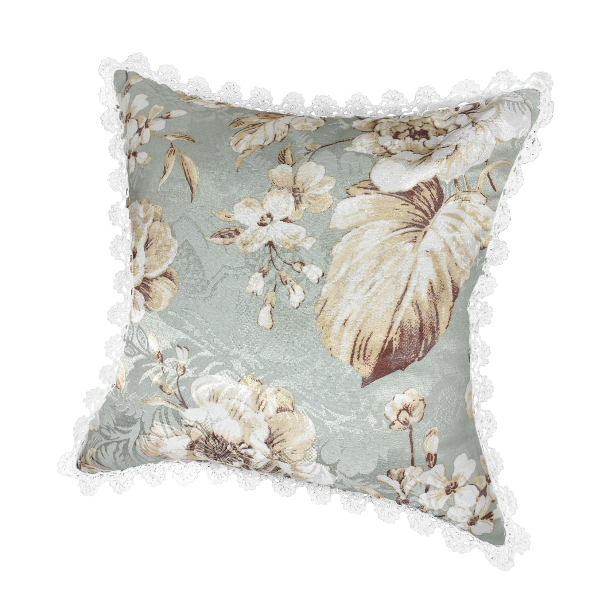 Shabby Chic Crochet Trim Tropical White Floral Jacquard Throw Pillow Case Pair - AeraVida