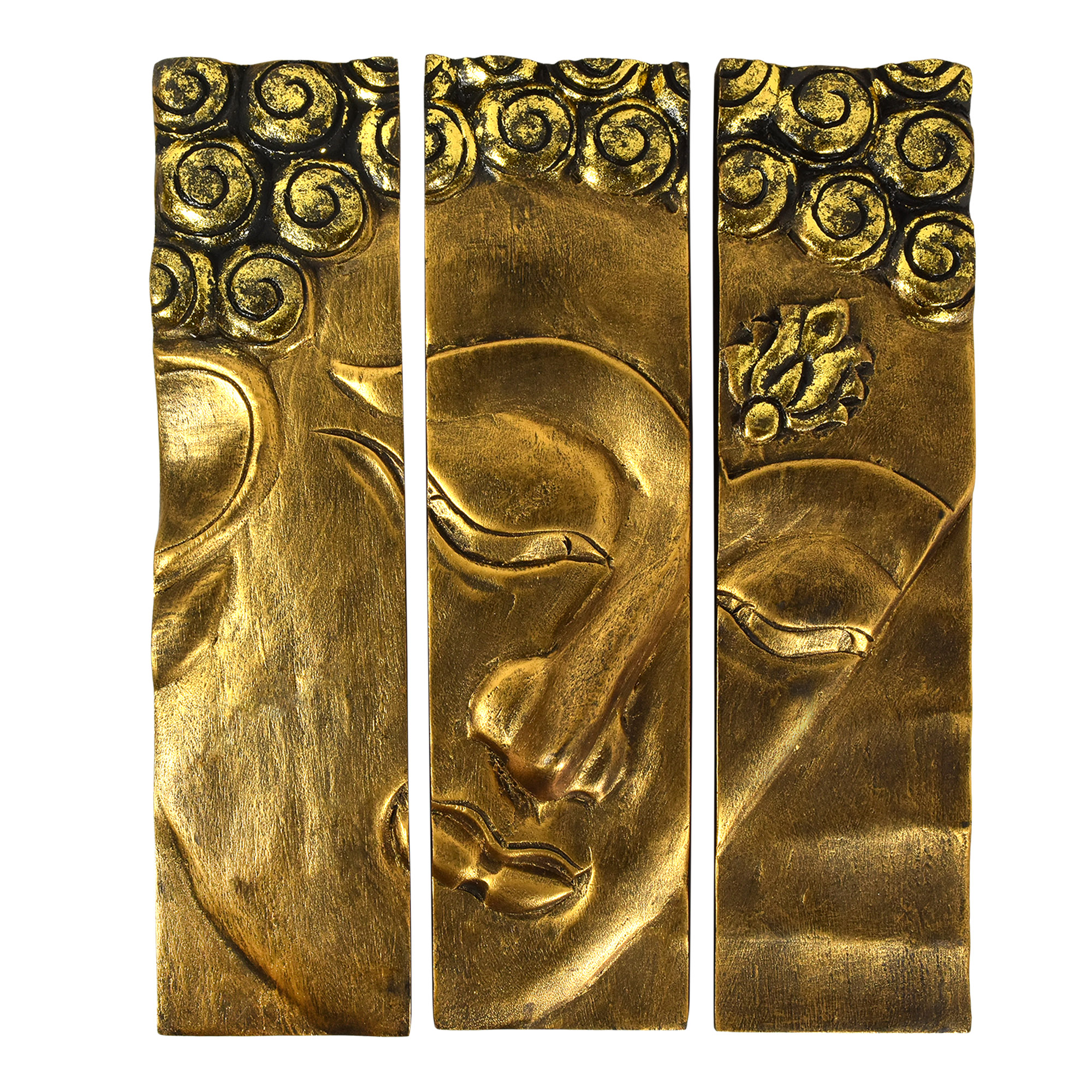 This Three Paneled Peaceful Buddha Face Is Masterfully Crafted By Local Thai Thanat From Environmentally Sustainable Reclaimed Rain Tree Wood