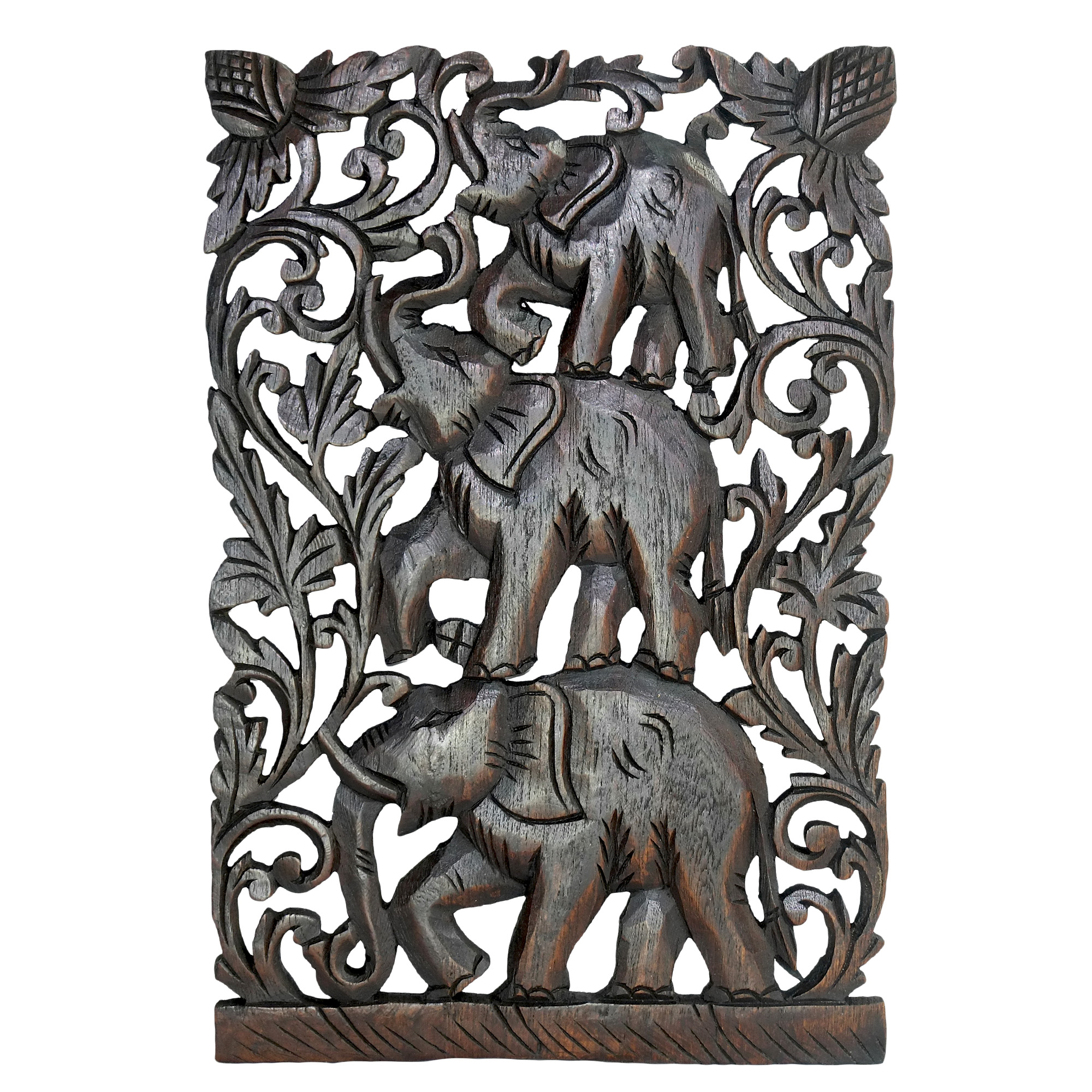 Joyful Circus Elephant Family Hand Carved Relief Panel