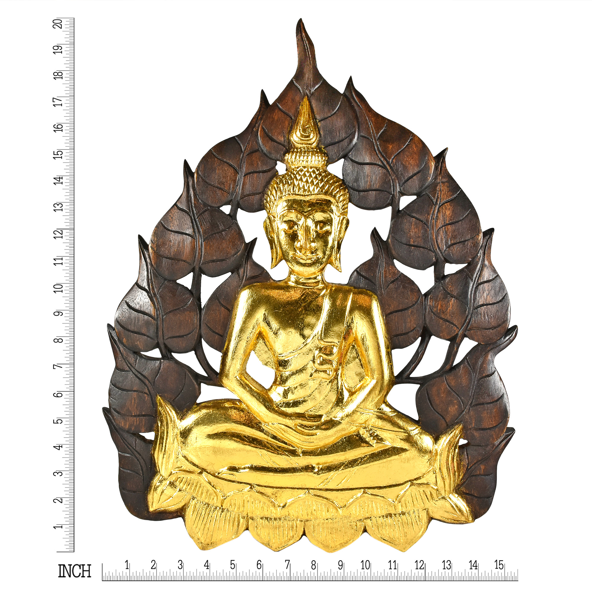 Enlightened Golden Buddha Bodhi Tree Leaf Wall Art Aeravida