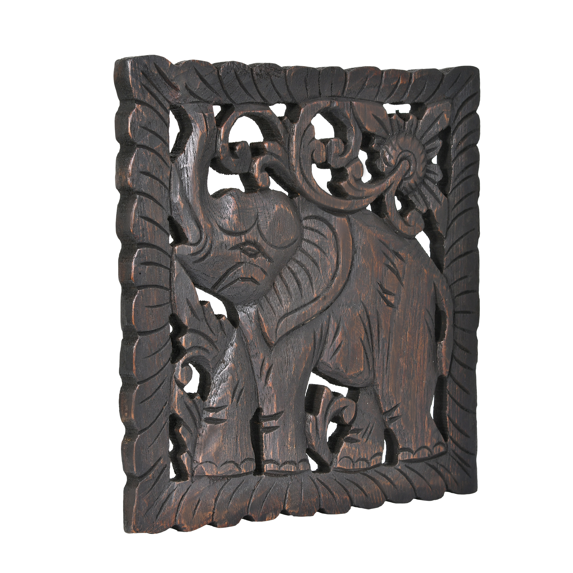 Victorious elephant hand carved square teak wood wall art 10inch an ancient symbol of power and wisdom the elephant has a long and storied history with the people of thailand artisan thanat meticulously works with buycottarizona Images