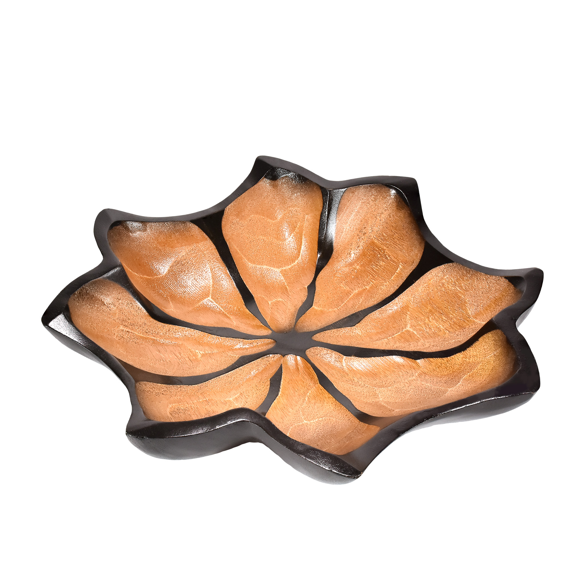 Simply Beautiful Hand Carved Lotus Flower 12inch Platter Or Tray