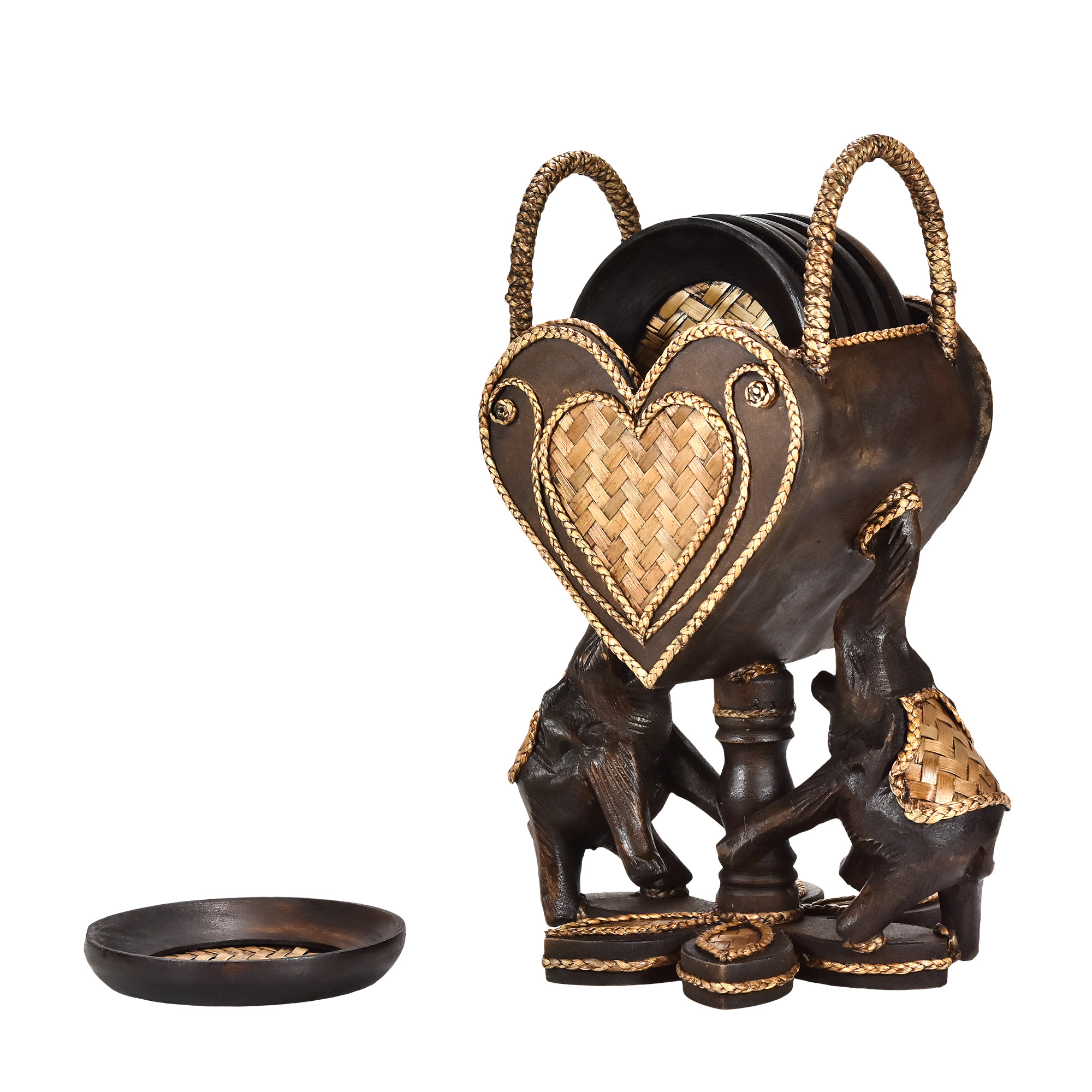 Elephant Pair Holding a Heart Set of 6 Coaster Kitchen Decor - AeraVida