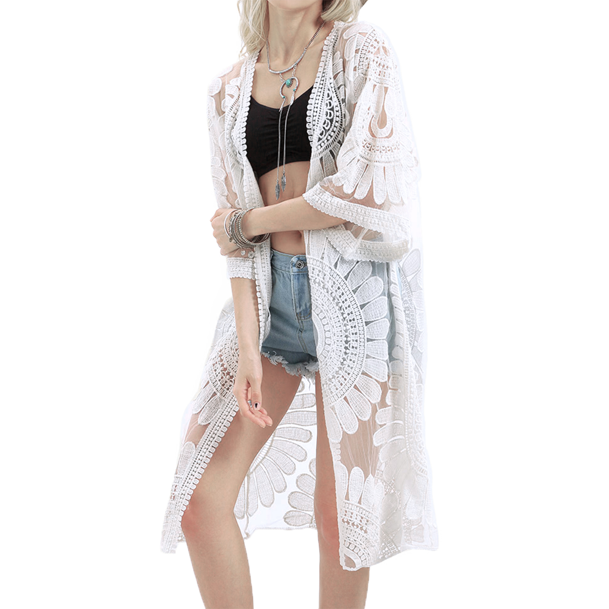 698dc81be0bfa Boho Chic White Flowers with White Lace Kimono Inspired Cover Up or ...
