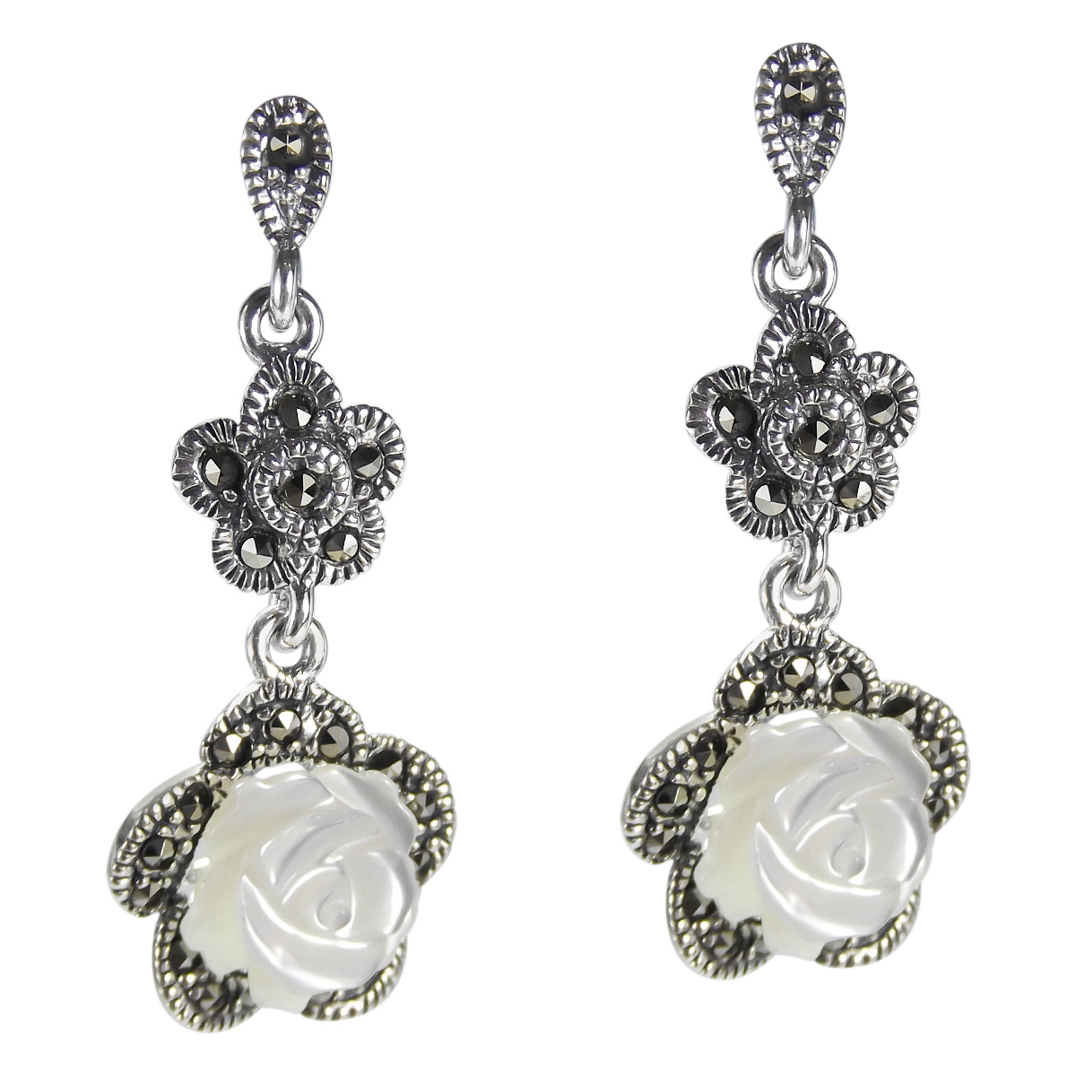 Beautifully Carved Mother Of Pearl Form A Sweet Rose Design Set In Sterling Silver These Earrings Feature Marcasite Stones For Vintage And Sophisticated