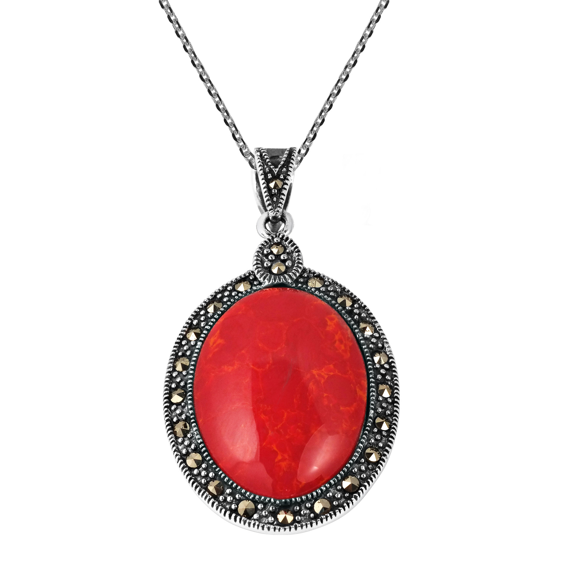 Vintage inspired oval red coral marcasite frame sterling silver the necklace features an oval stone encased with sparkling marcasite crafted in sterling silver the pendant hangs from mozeypictures Images