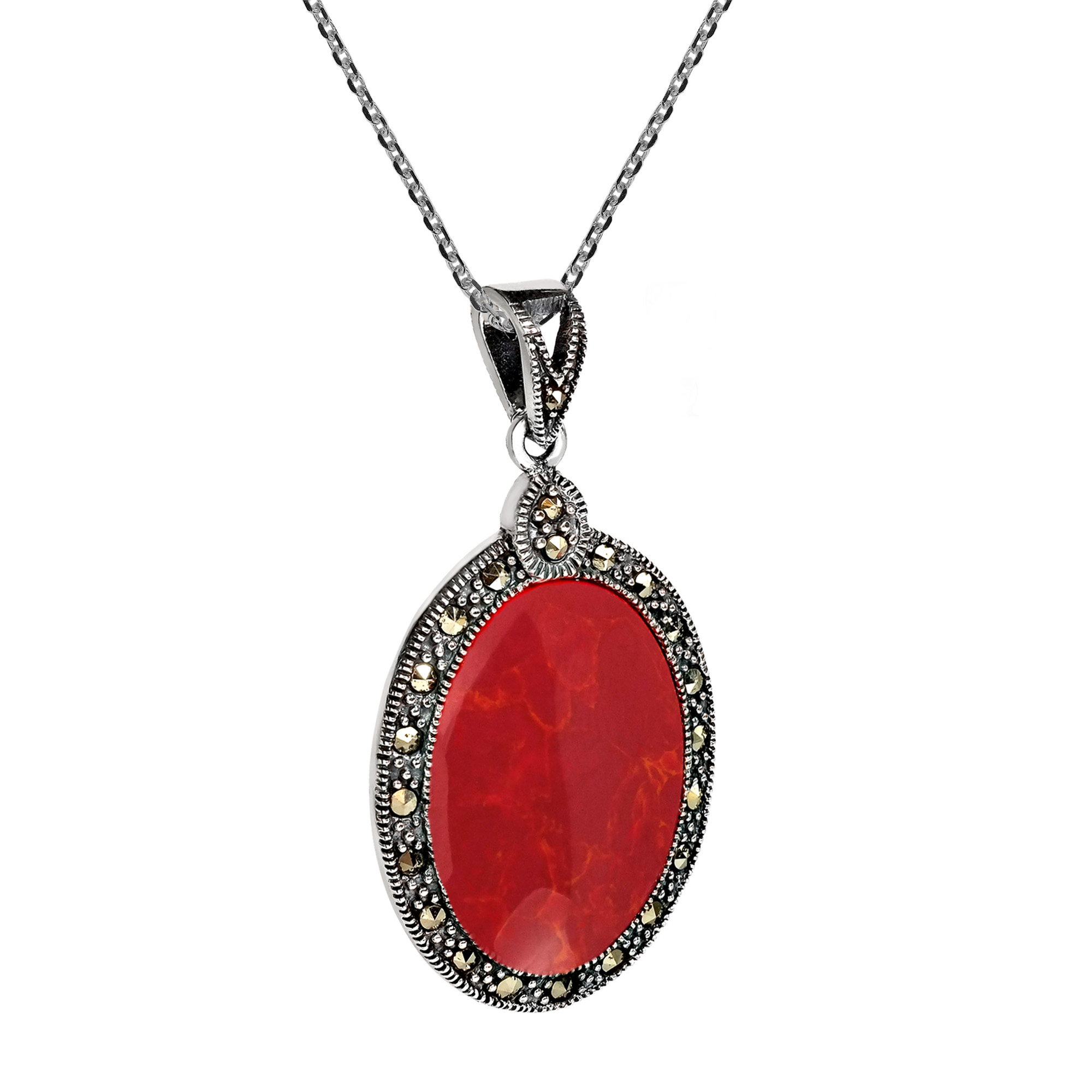 Vintage Inspired Oval Red Coral Marcasite Frame Sterling