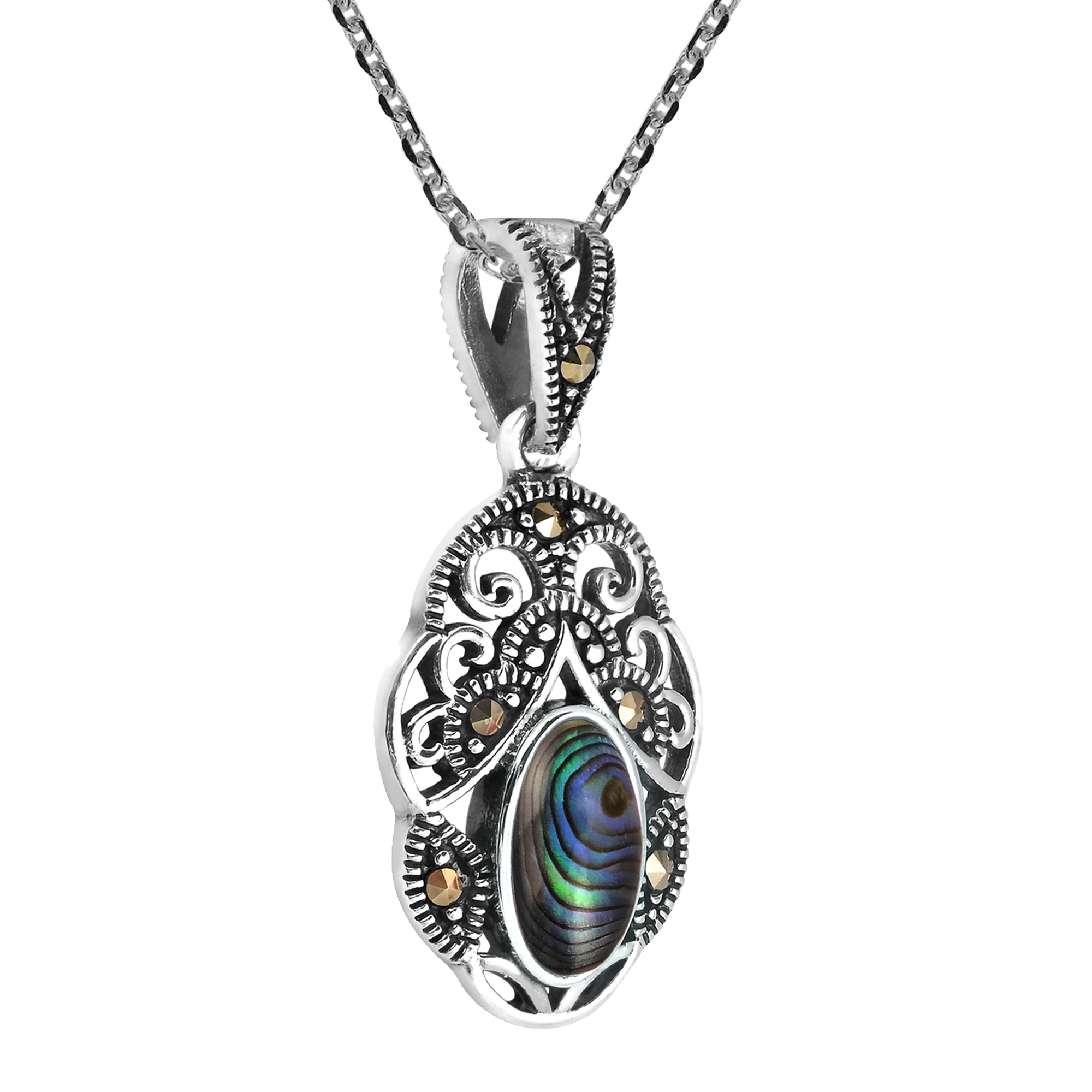 Vintage Royal Swirl Marcasite Oval Abalone 925 Sterling